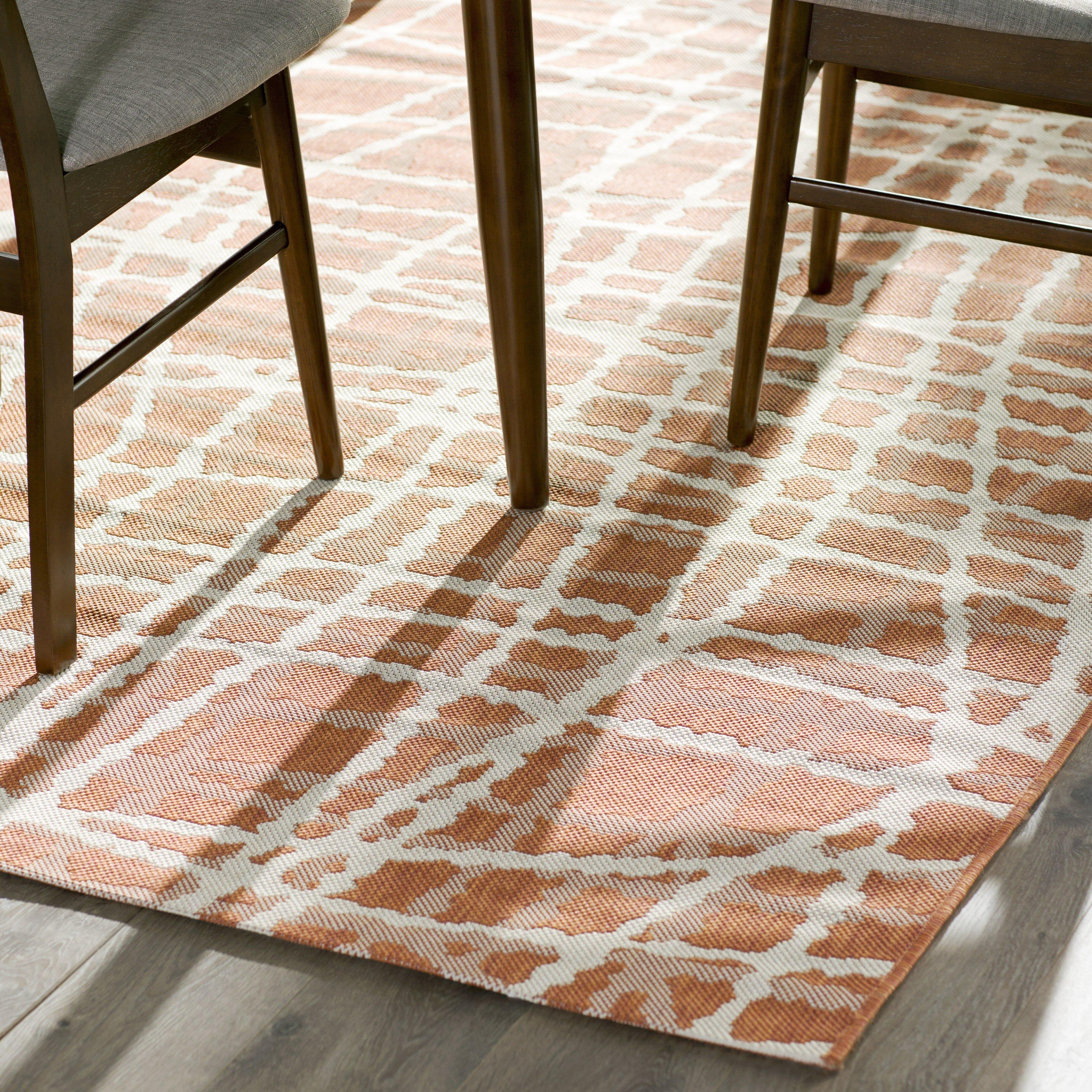 Mercury Row Rust Ivory Indoor Outdoor Area Rug & Reviews