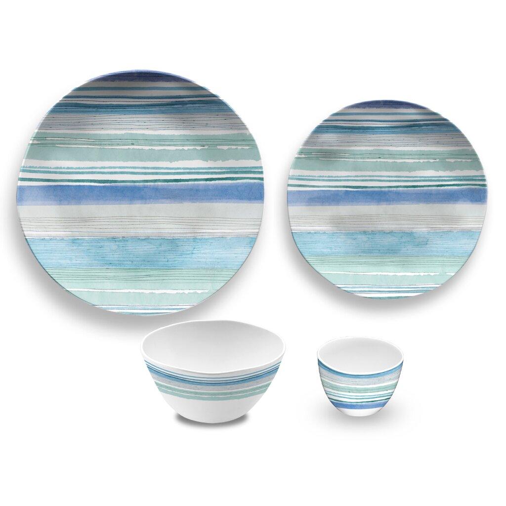 Melamine Dinnerware : Aquatic-Stripe-16-Piece-Melamine-Dinnerware-Set-PONDPSPBASC.jpg