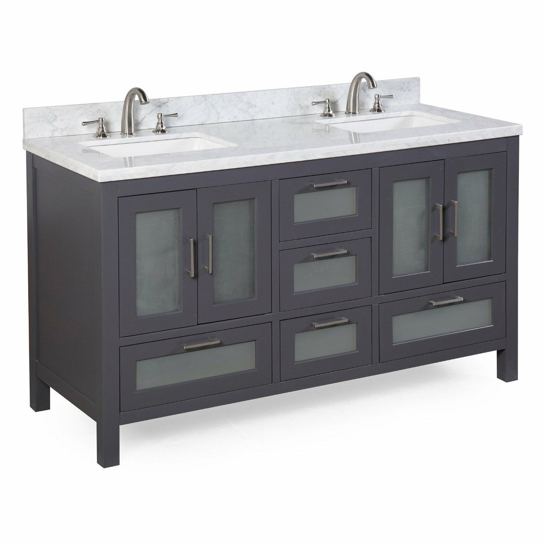"KBC Manhattan 60"" Double Sink Bathroom Vanity Set"