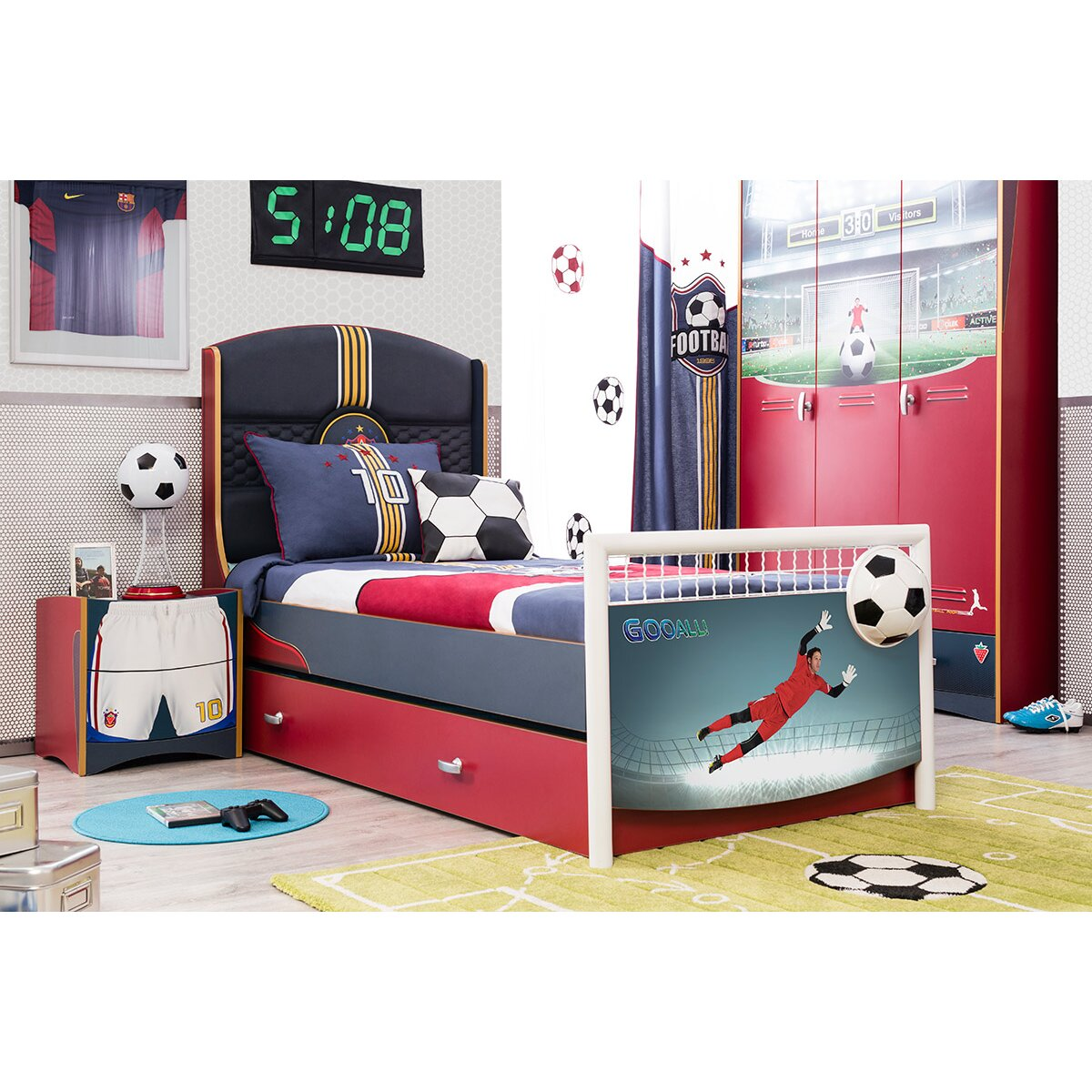 cilek soccer extra long twin panel bed with trundle and storage reviews wayfair. Black Bedroom Furniture Sets. Home Design Ideas