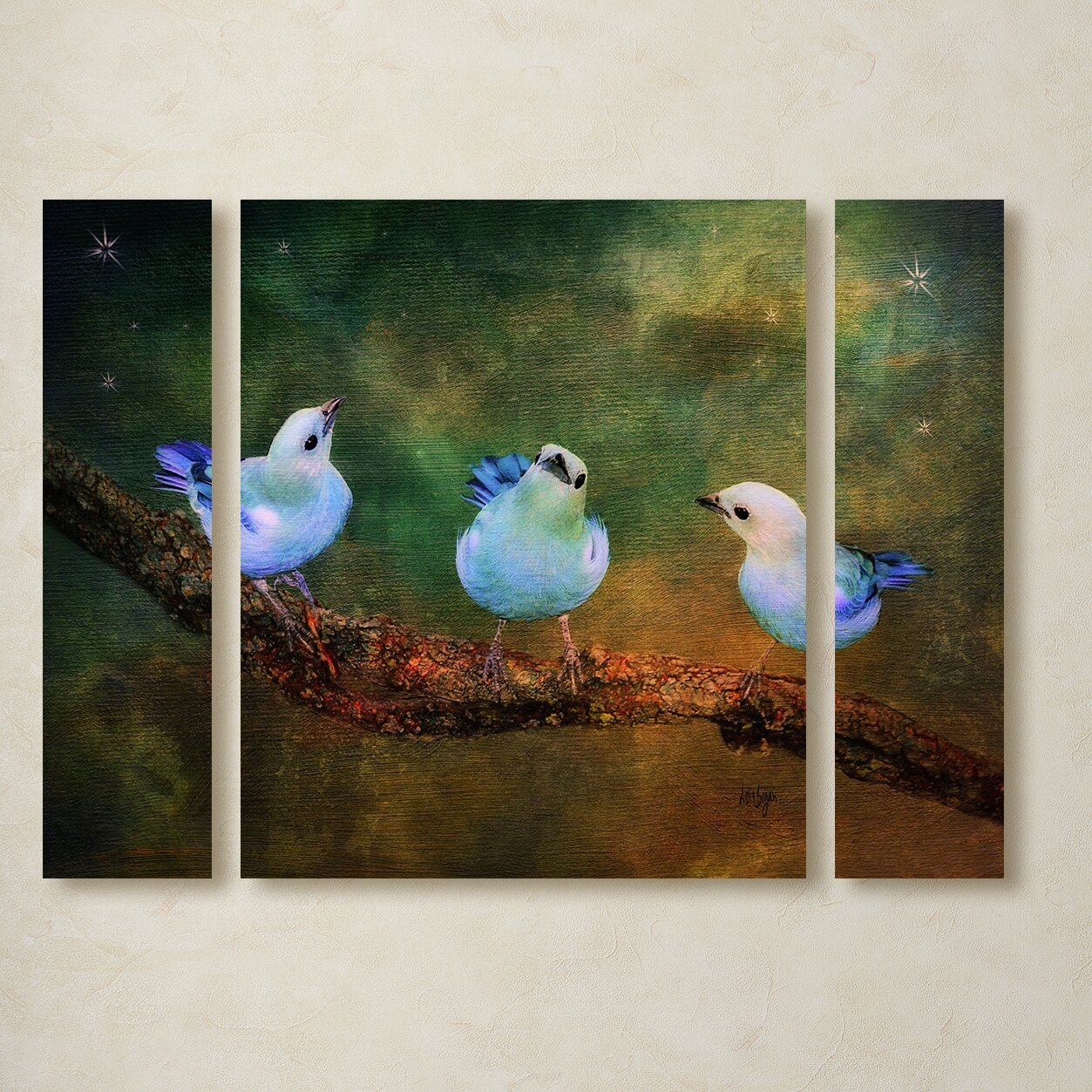 Three Little Blue Birds By Lois Bryan 3 Piece Painting