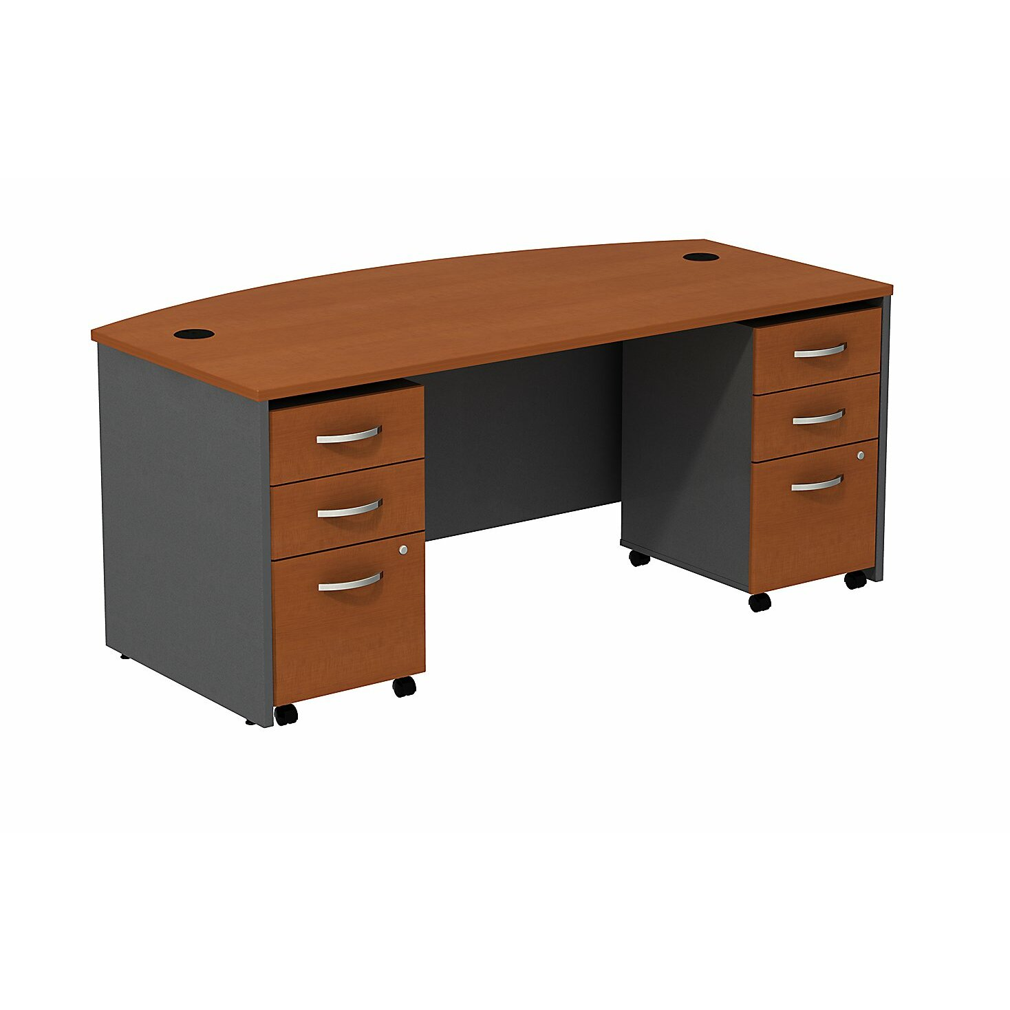 Bush Business Furniture Series C Bow Front Office Desk Shell With 2 Mobile Pedestals Reviews