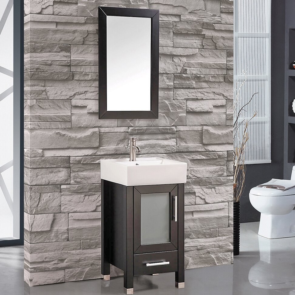 Innovative MTDVanities Malta 18quot Single Sink Bathroom Vanity Set With Mirror