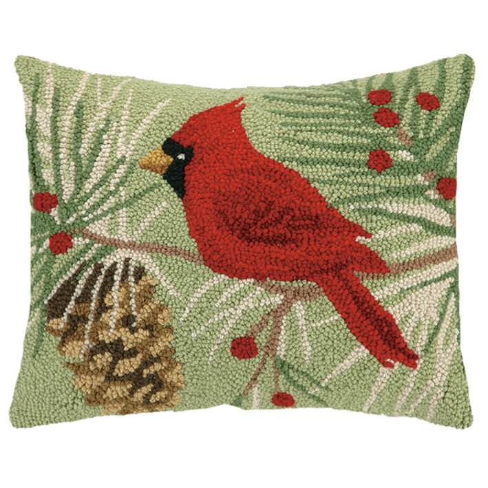 Winter Bird Hook Wool Throw Pillow Wayfair
