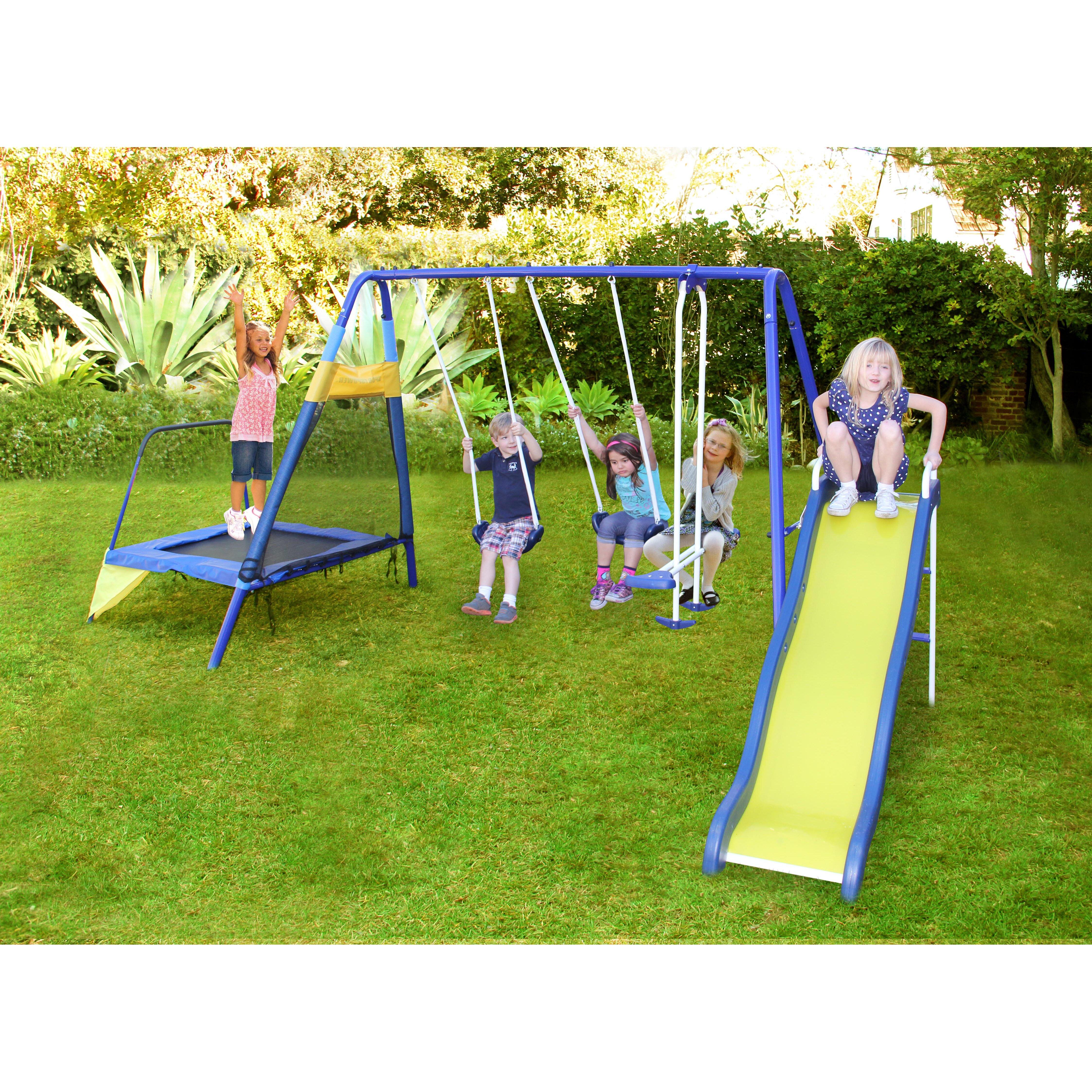 Natus Inc Almansor Metal Trampoline Slide And Swing Set