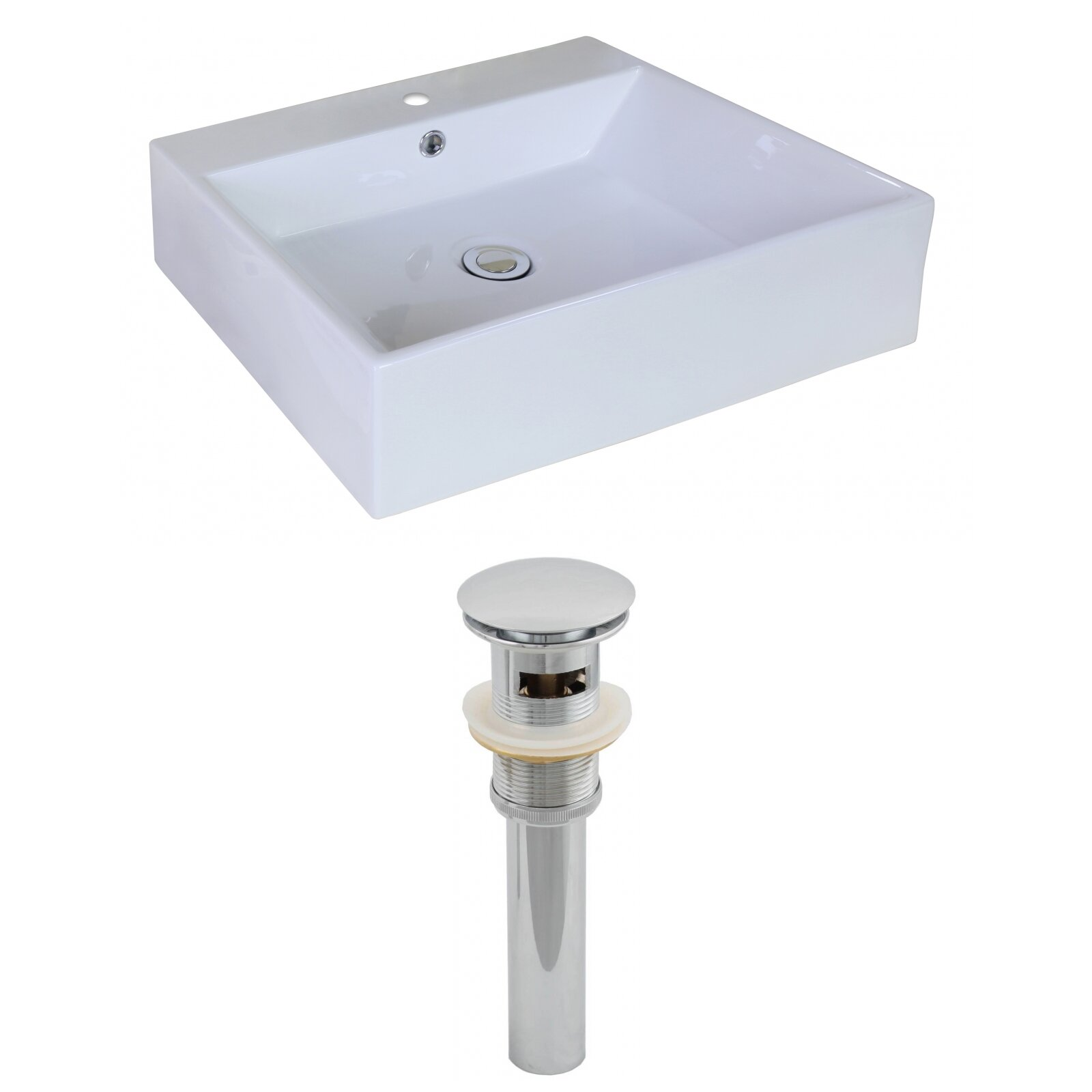 Vessel Sink Overflow : ... Imaginations Rectangle Vessel Sink with Overflow & Reviews Wayfair