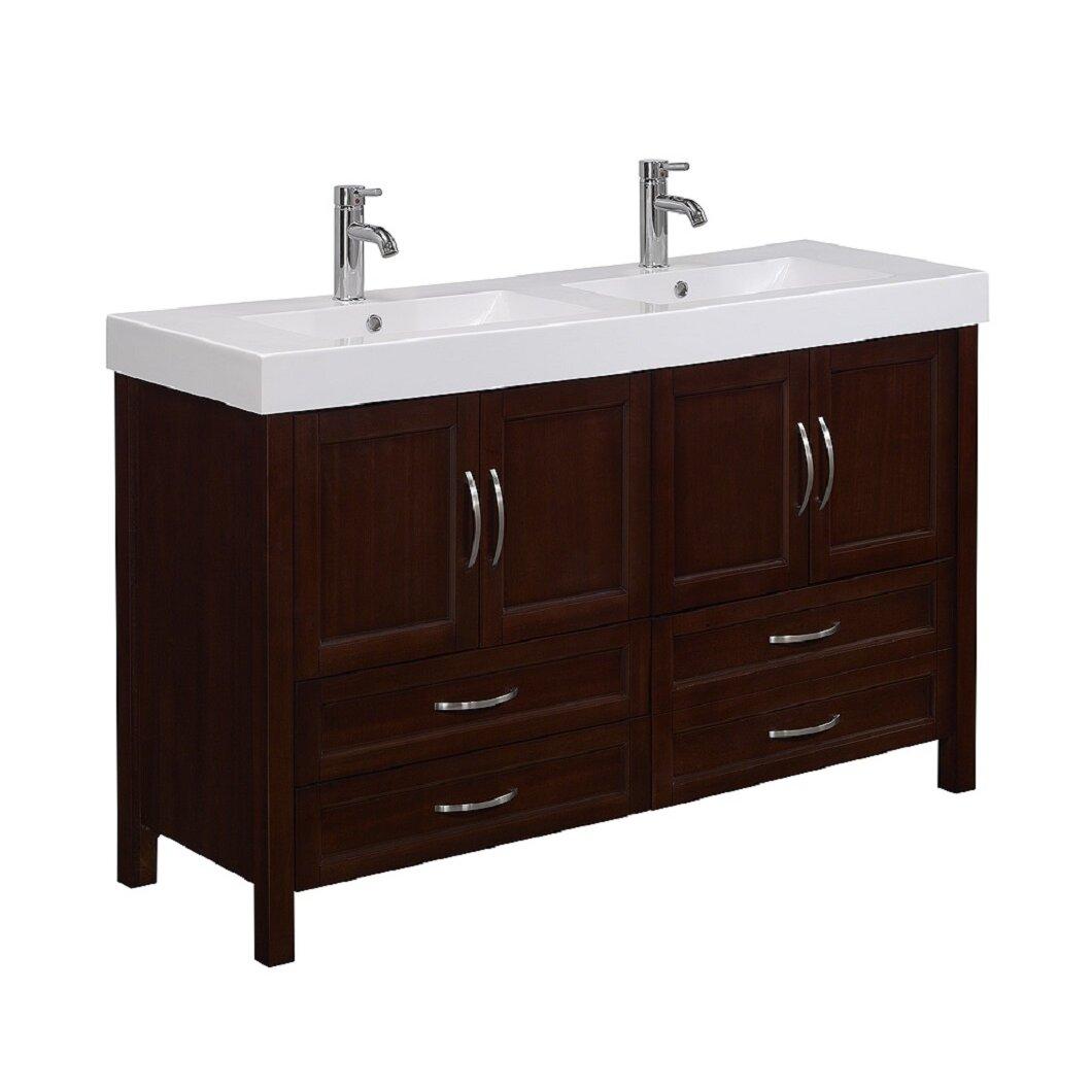 "RunFine Group Larissa 56"" Double Bathroom Vanity Set ..."