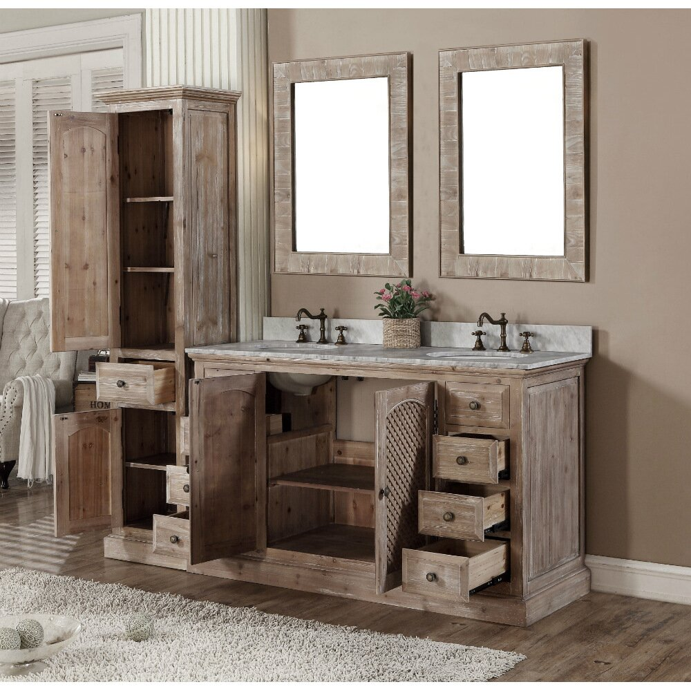 Infurniture Wk Series 61 Quot Double Bathroom Vanity Set With