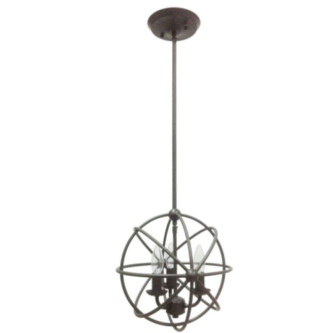 Industrial Orb 3 Light Foyer Pendant