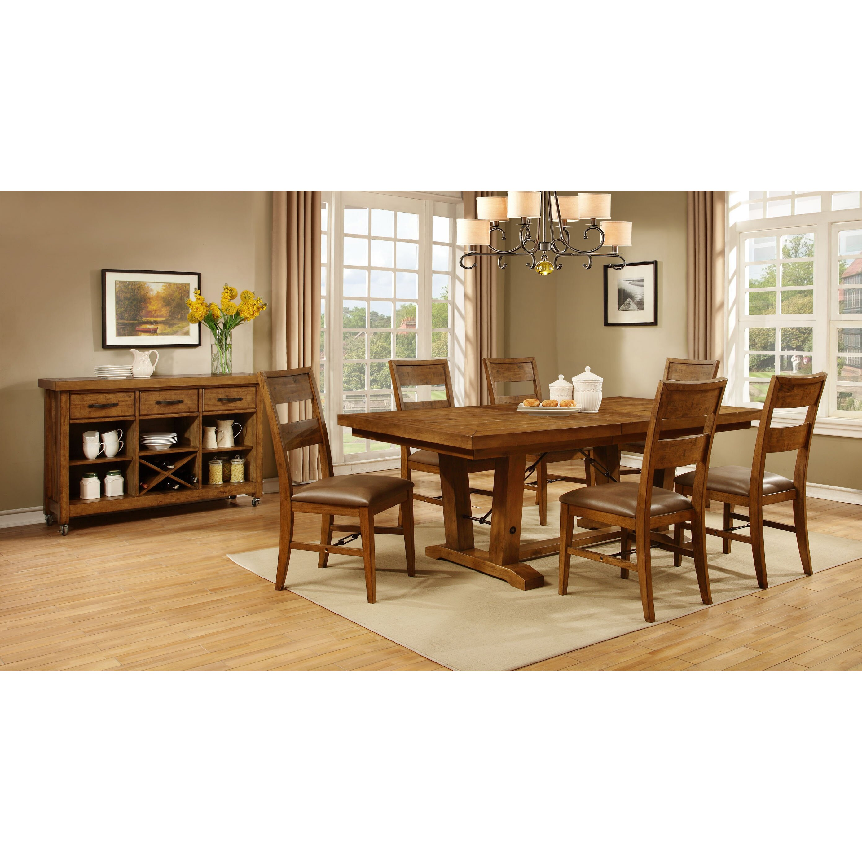 Avalon furniture milling road 7 piece dining set reviews for Furniture 7 credit reviews