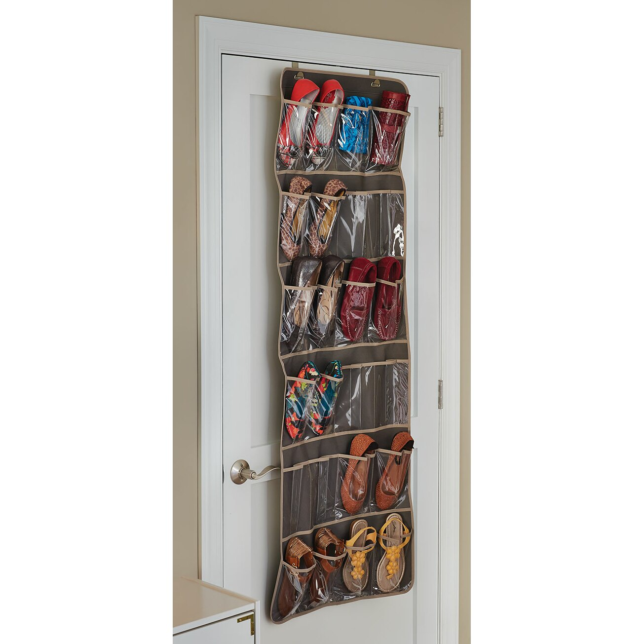 24 pocket over the door shoe organizer wayfair. Black Bedroom Furniture Sets. Home Design Ideas