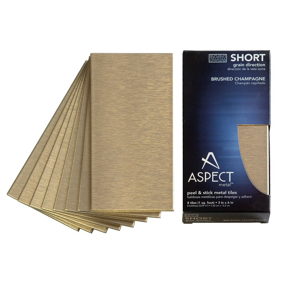 "Aspect Short Grain 6"" X 3"" Metal Tile In Brushed Champagne"