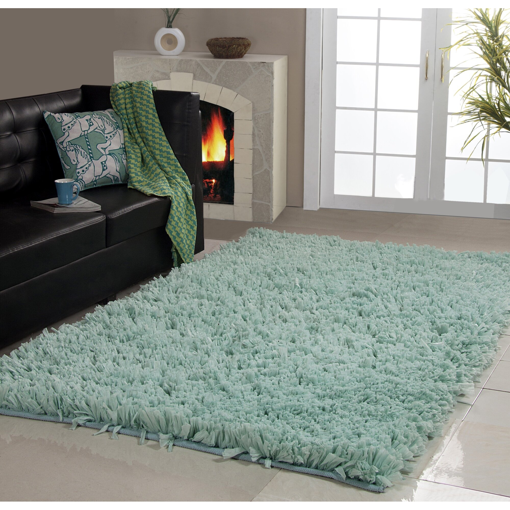Affinity Home Collection Hand Woven Shag Aqua Area Rug