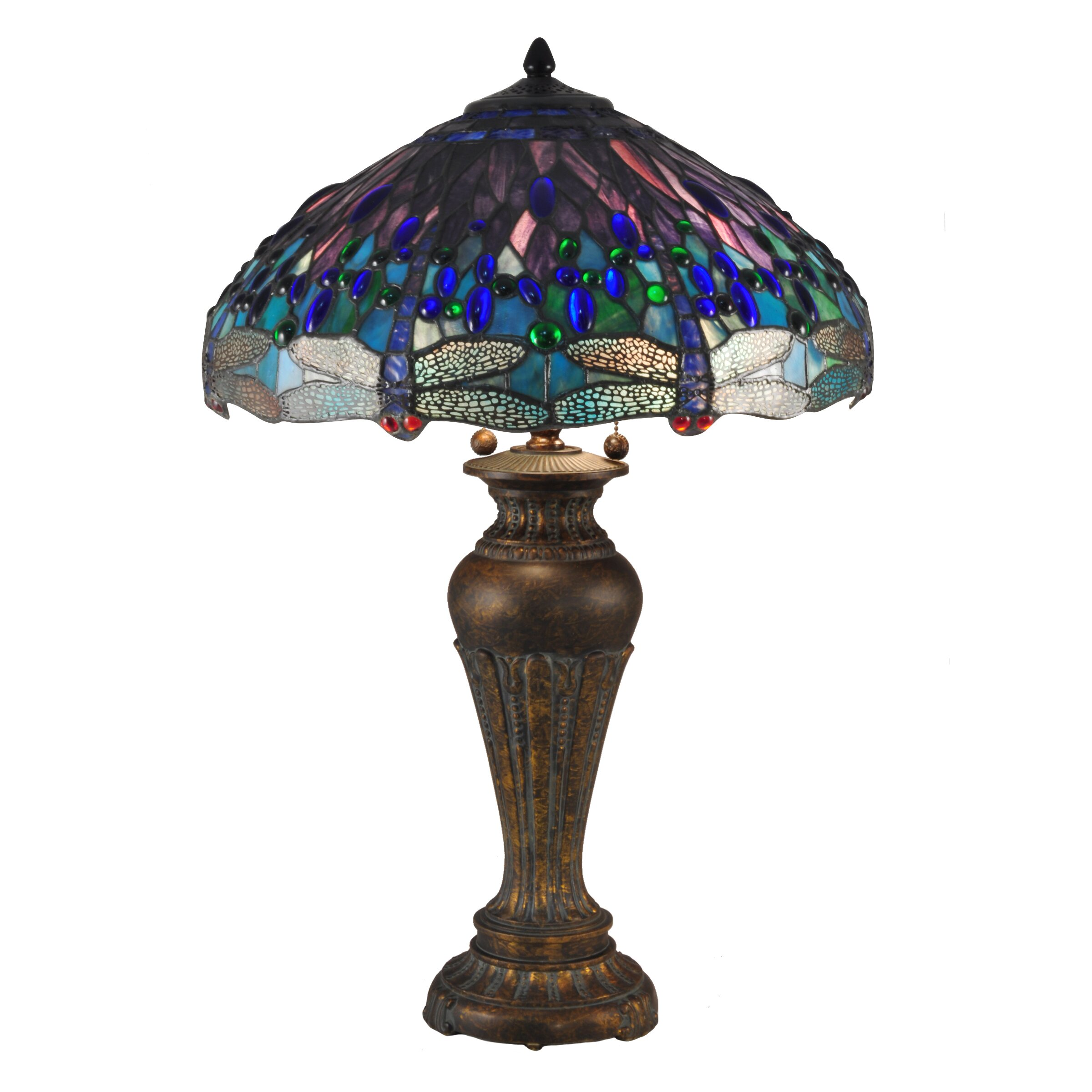 dale tiffany dragonfly 28 5 h table lamp with bowl shade. Black Bedroom Furniture Sets. Home Design Ideas