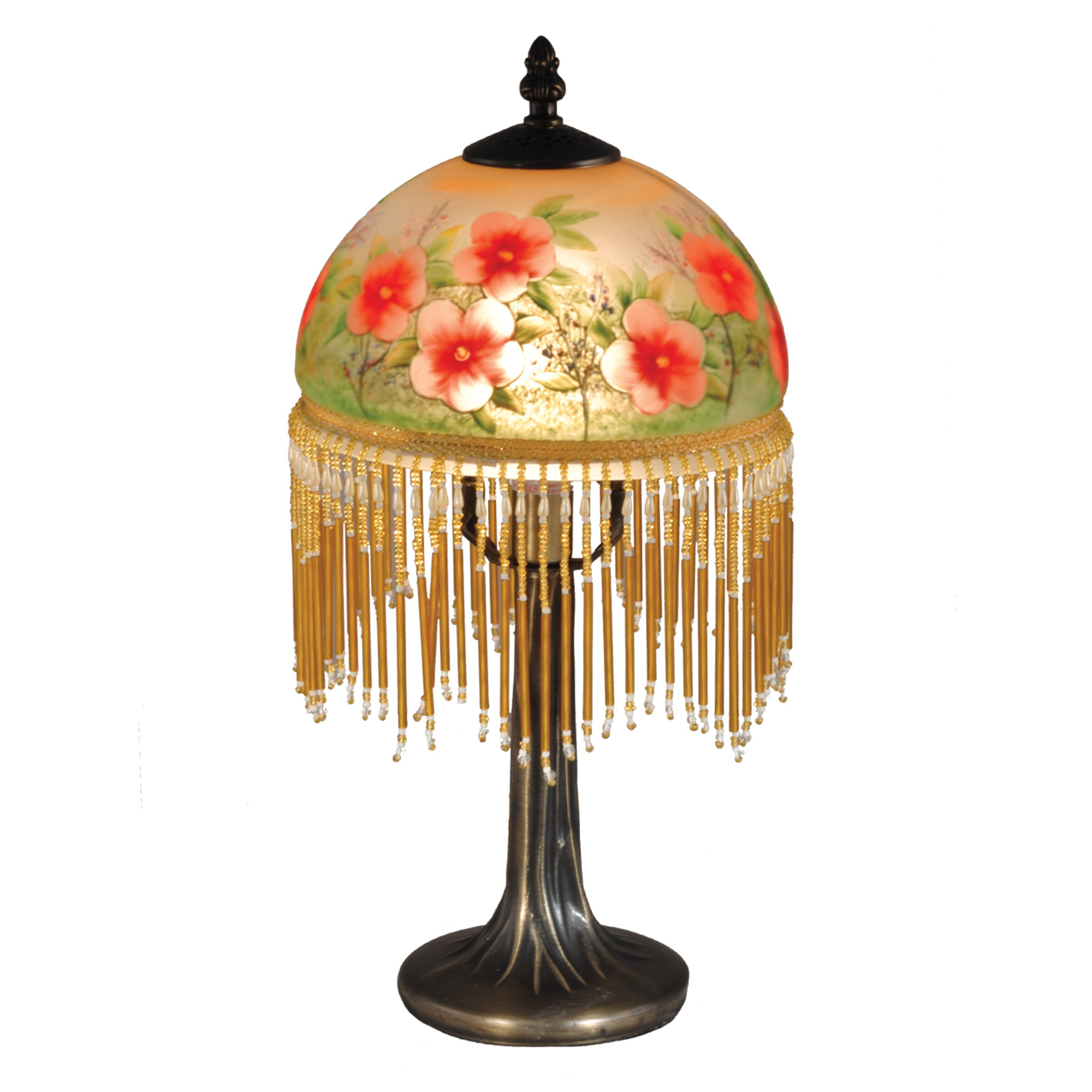 dale tiffany pansy beaded 14 5 h table lamp with bowl shade revie. Black Bedroom Furniture Sets. Home Design Ideas