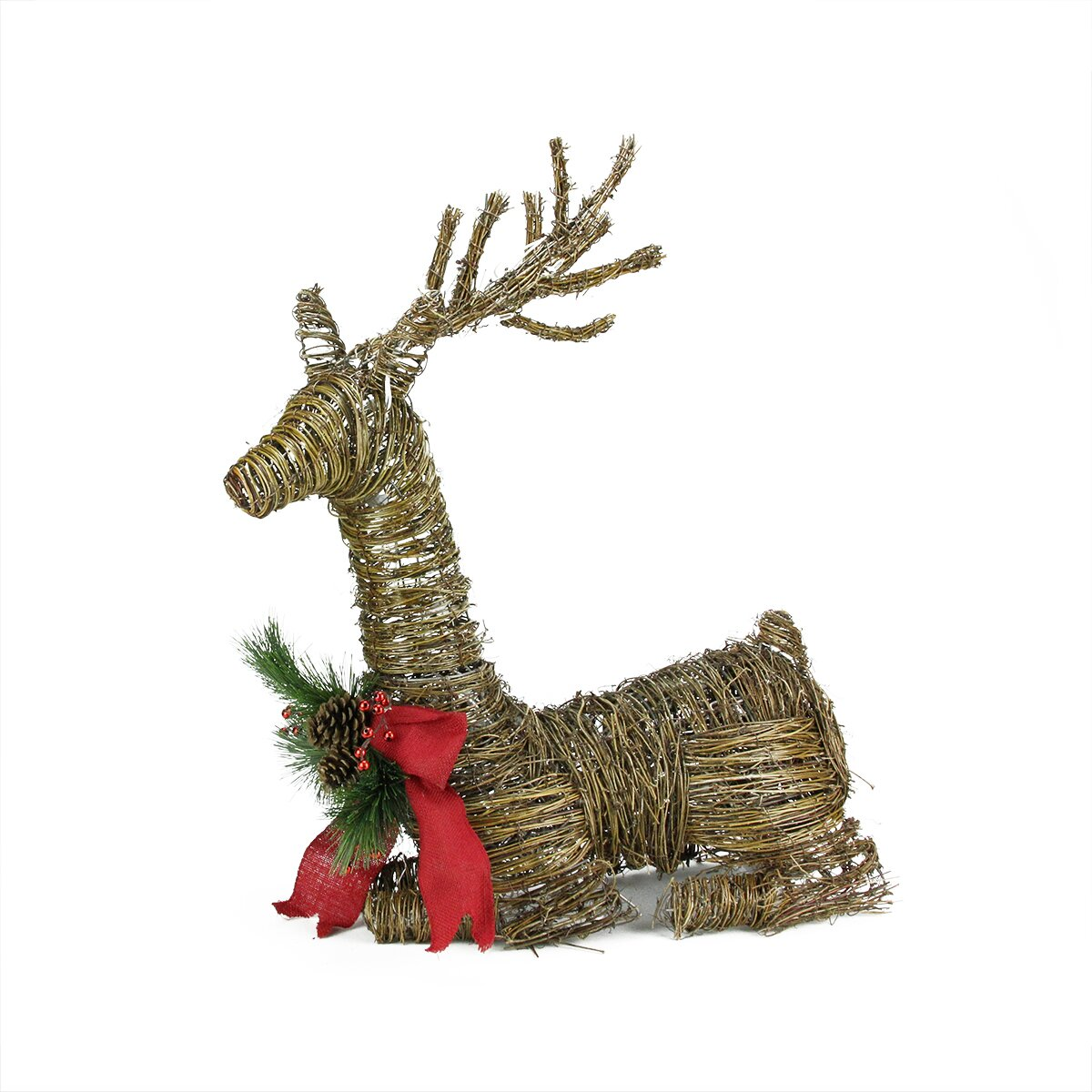 lighted rattan reindeer with bow and pine cones christmas decoration. Black Bedroom Furniture Sets. Home Design Ideas