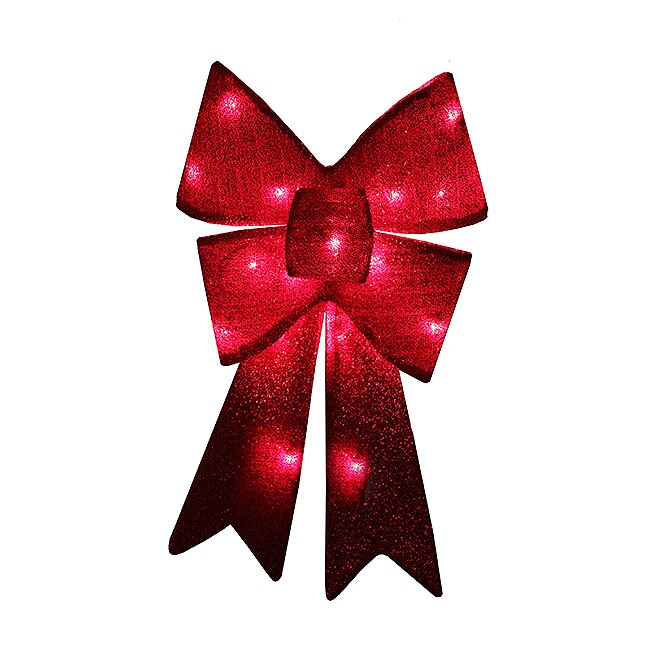 Christmas Decorations Red Bows : Penndistributing sparkly lighted christmas bow decoration