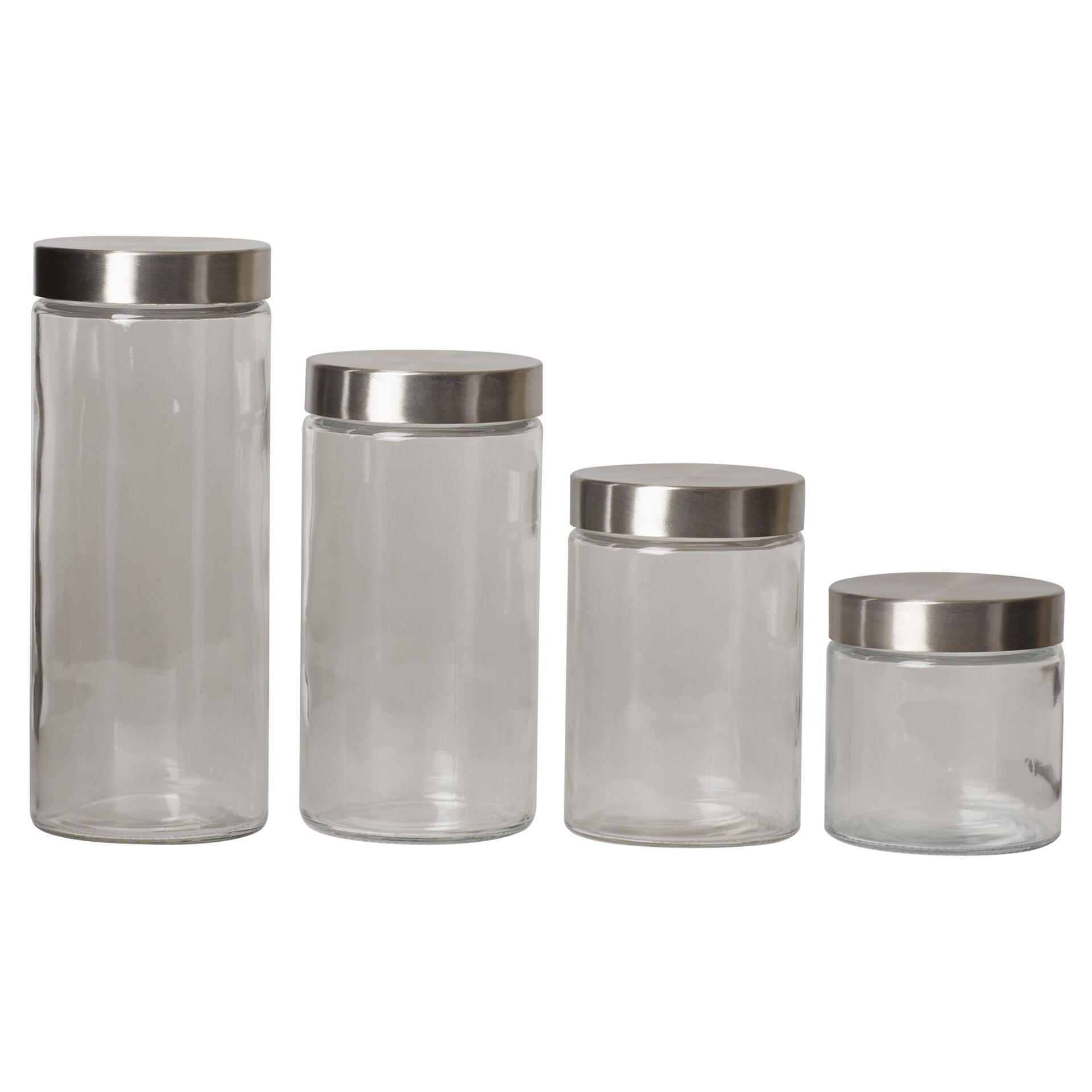 glass kitchen canister set home basics glass canister 4 piece
