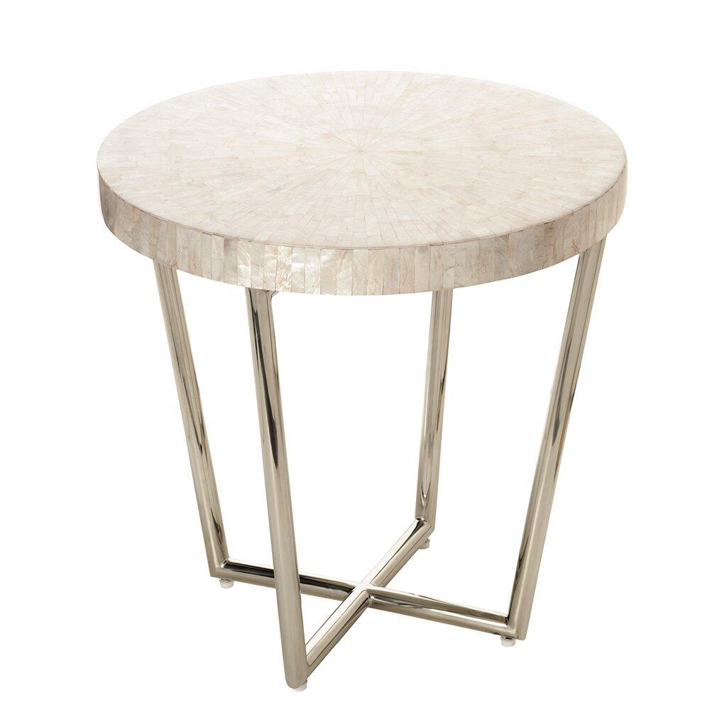 Round White Capiz Coffee Table: Capiz Seashell Mosaic End Table