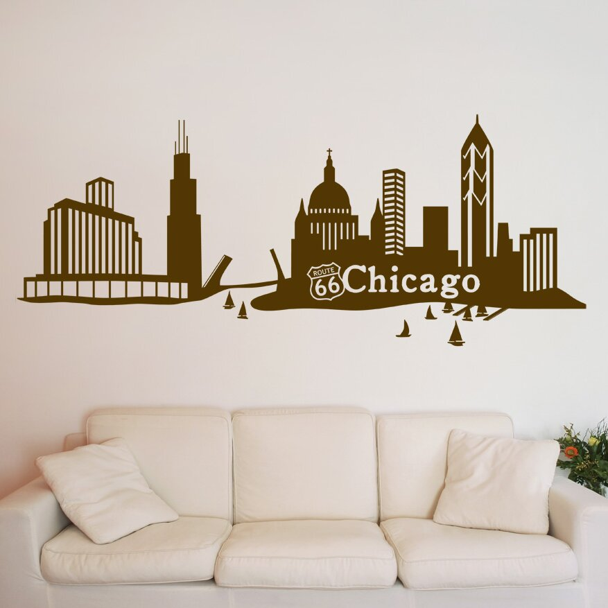 Blue And Green Bedding Sets Chicago Skyline Wall Decal | Wayfair