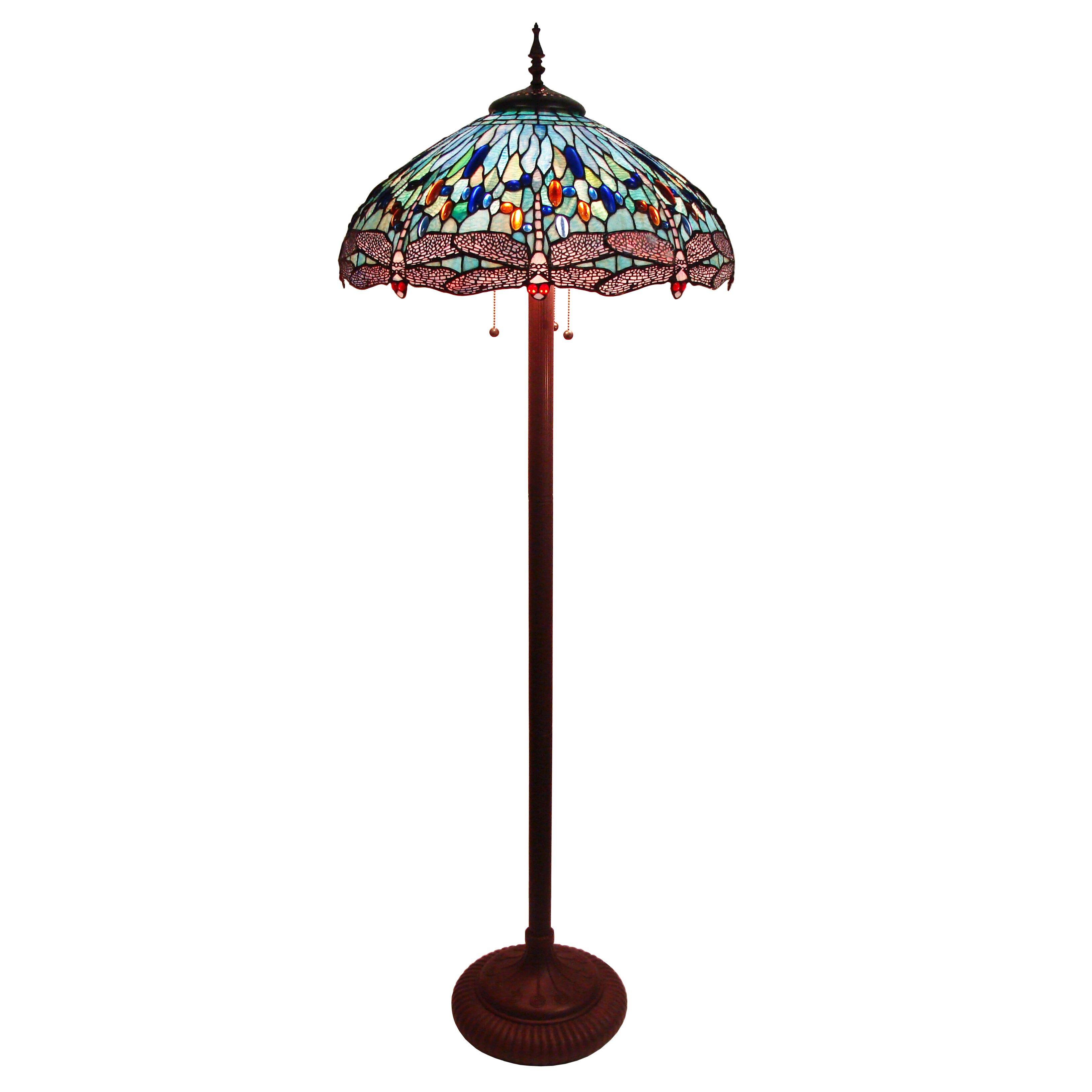 fine art lighting tiffany dragonfly 65 floor lamp reviews wayfair. Black Bedroom Furniture Sets. Home Design Ideas