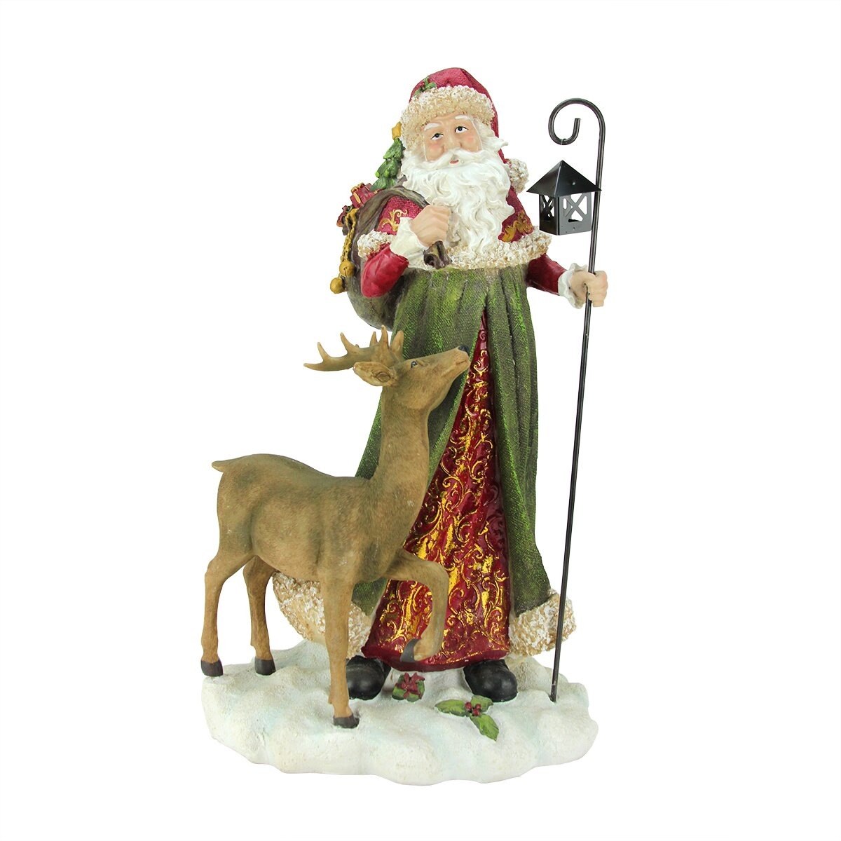 Old world lodge santa claus with lantern and reindeer
