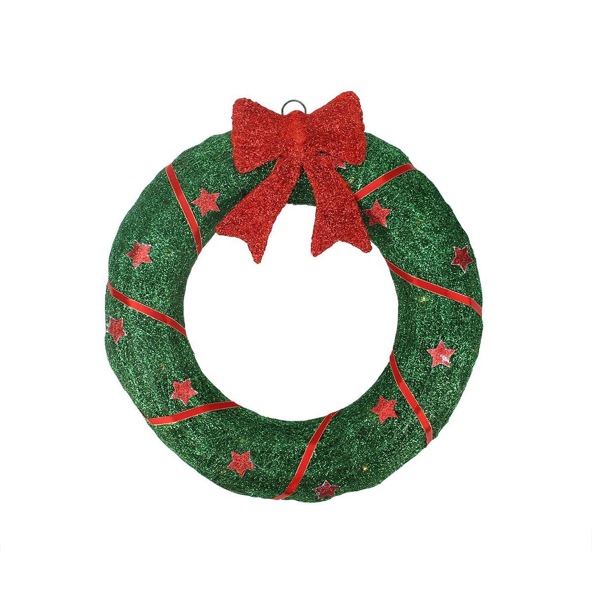 seasonal lighted sparkling sisal christmas wreath yard art decoration. Black Bedroom Furniture Sets. Home Design Ideas