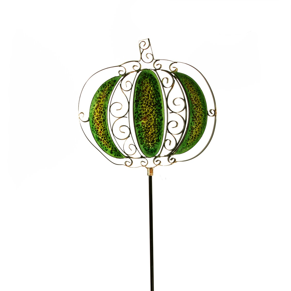 Metal scrollwork pumpkin with inlaid decorative glass yard for Decorative scrollwork
