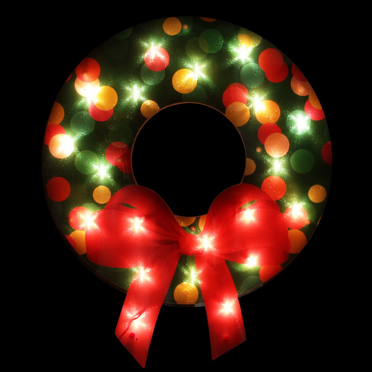 northlight seasonal lighted shimmering christmas wreath with bow. Black Bedroom Furniture Sets. Home Design Ideas