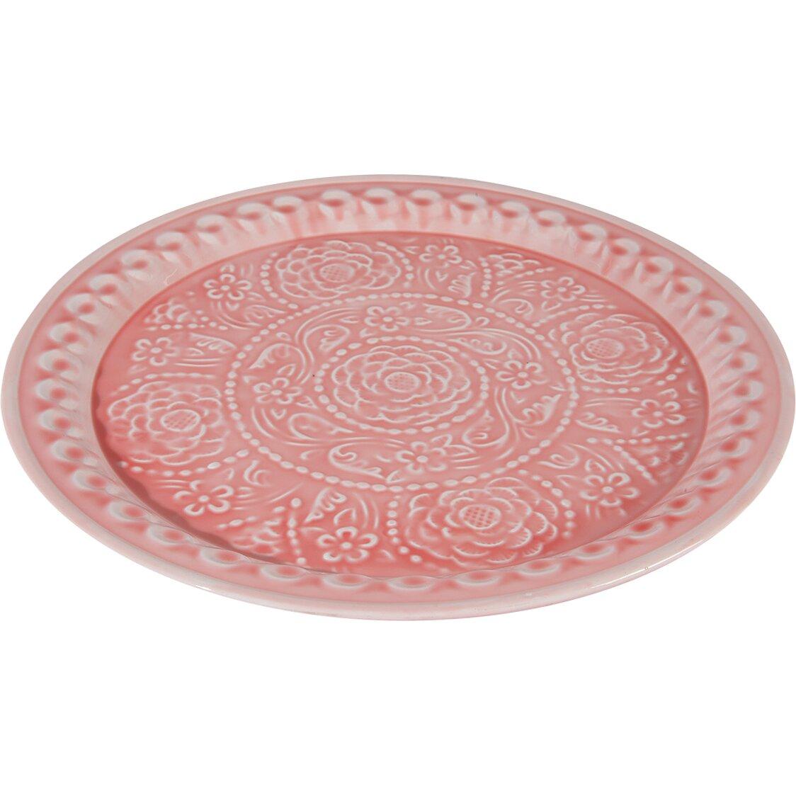 l 39 eau de fleur embossed rose floral decorative plate. Black Bedroom Furniture Sets. Home Design Ideas