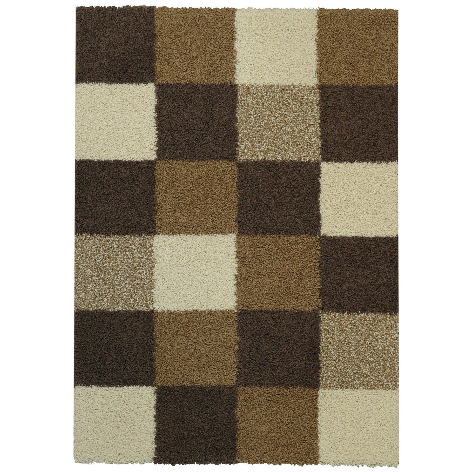 Rugnur bella maxy home checkerboard squares contemporary ivory brown shag area rug reviews - Checkerboard area rug ...