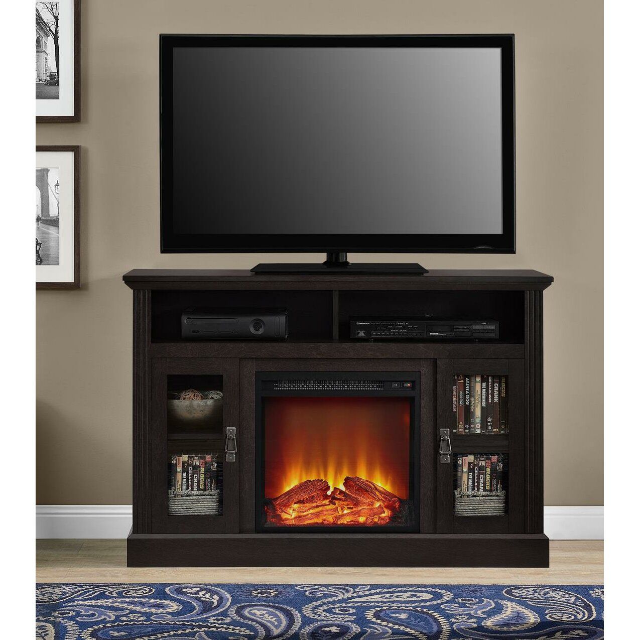 Darby Home Co Cristemas Tv Stand With Electric Fireplace Reviews Wayfair