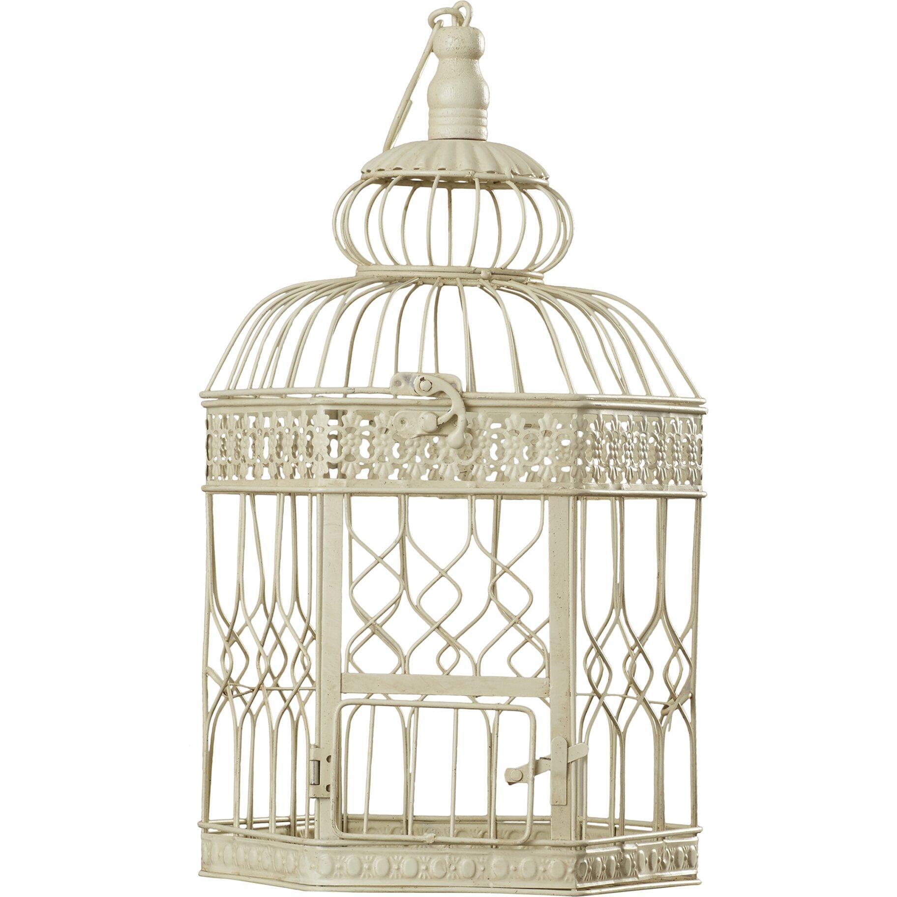 darby home co 2 piece decorative metal bird cage set vintage pair brass quail interior home decorative pieces