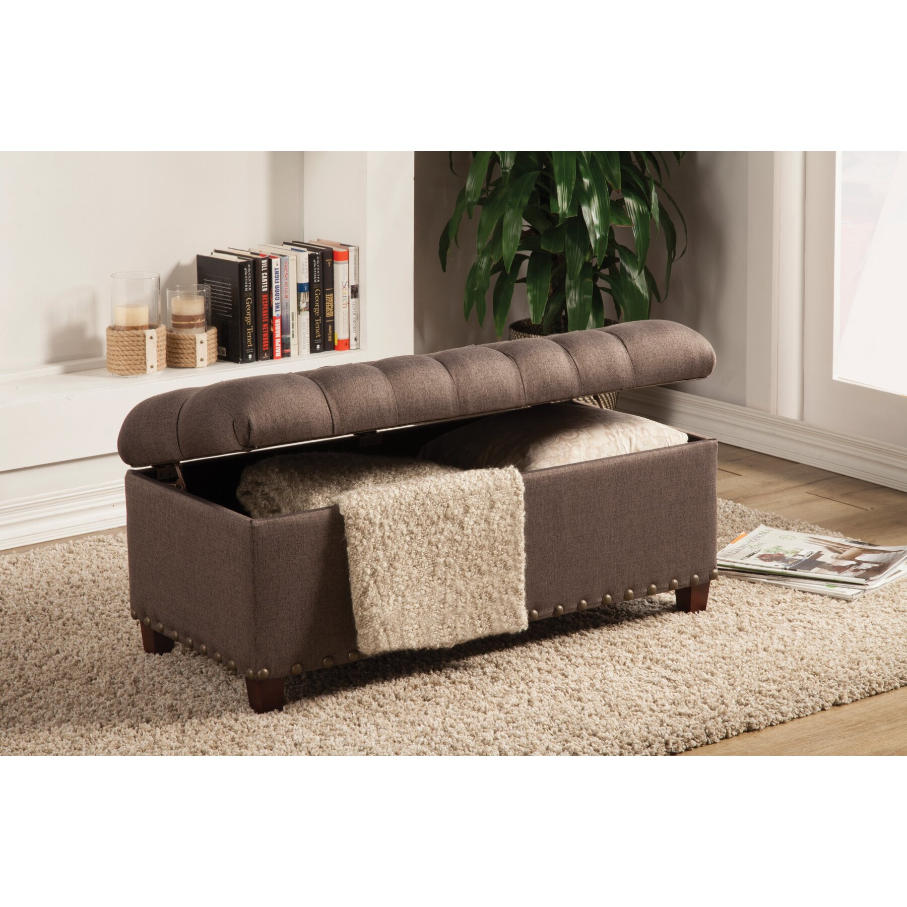 Storage Benches For Bedrooms: Alcott Hill Henderson Upholstered Storage Bedroom Bench