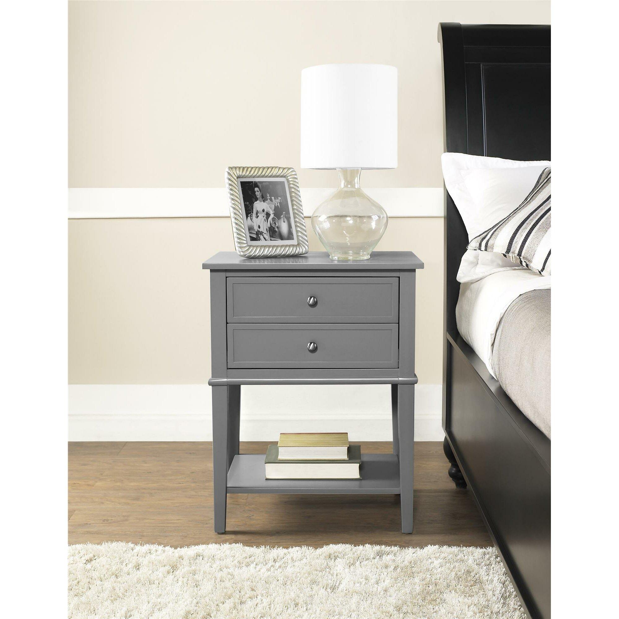 alcott hill grey 2 drawer end table reviews wayfair. Black Bedroom Furniture Sets. Home Design Ideas