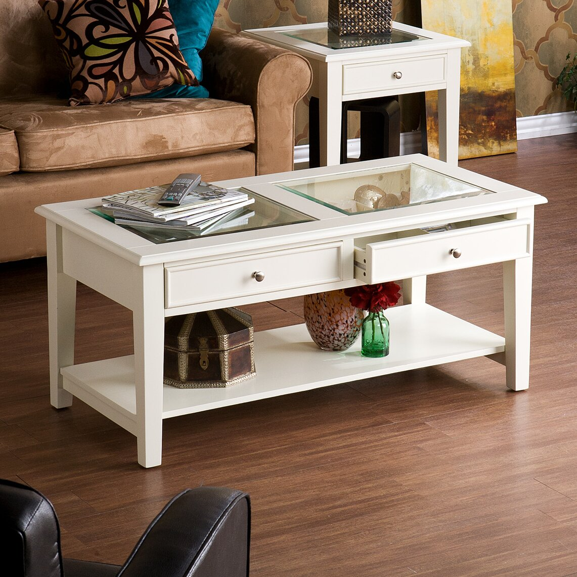 Coffee Table With Drawers: Alcott Hill Amber Oak 2 Drawer Coffee Table & Reviews