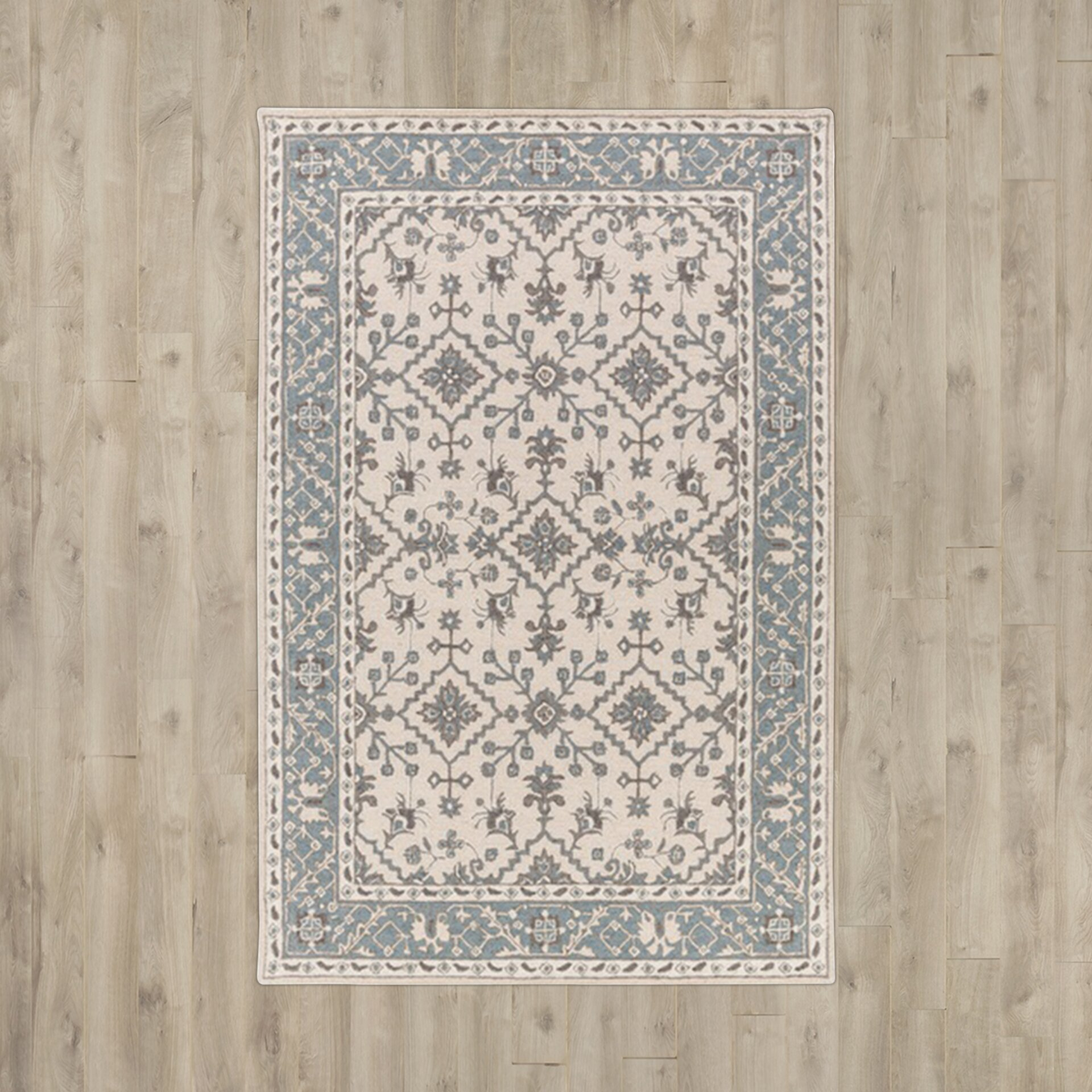 Alcott Hill Pottershill Hand-Tufted Beige/Teal Area Rug