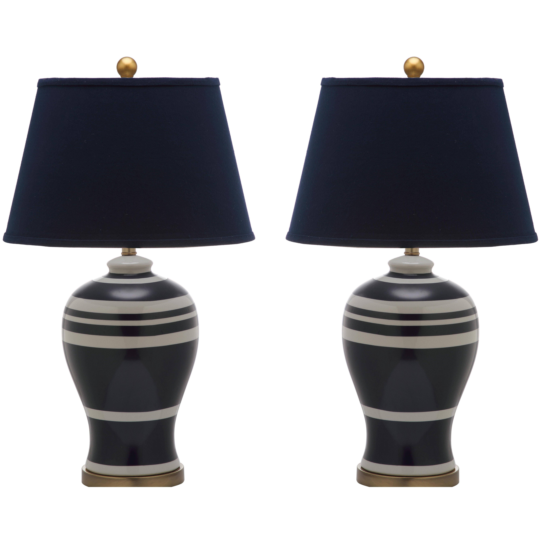 alcott hill pottery stripe ginger jar 29 h table lamp. Black Bedroom Furniture Sets. Home Design Ideas