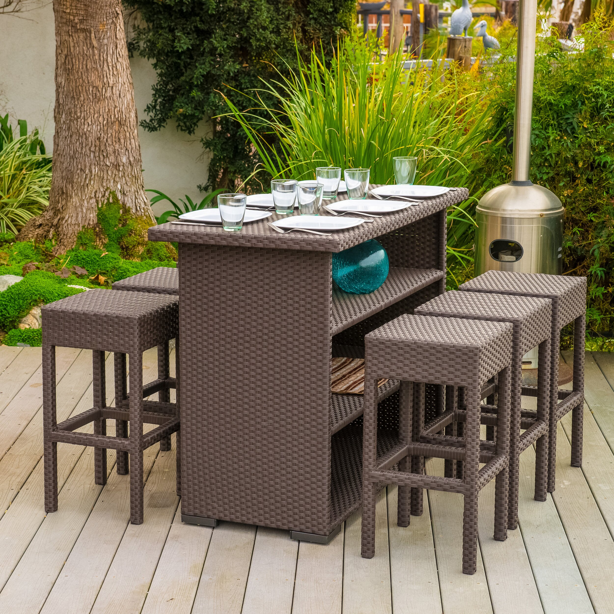 Patio Bar Set Outdoor Table 7 Pcs 6 Barstools Chairs Brown Wicker