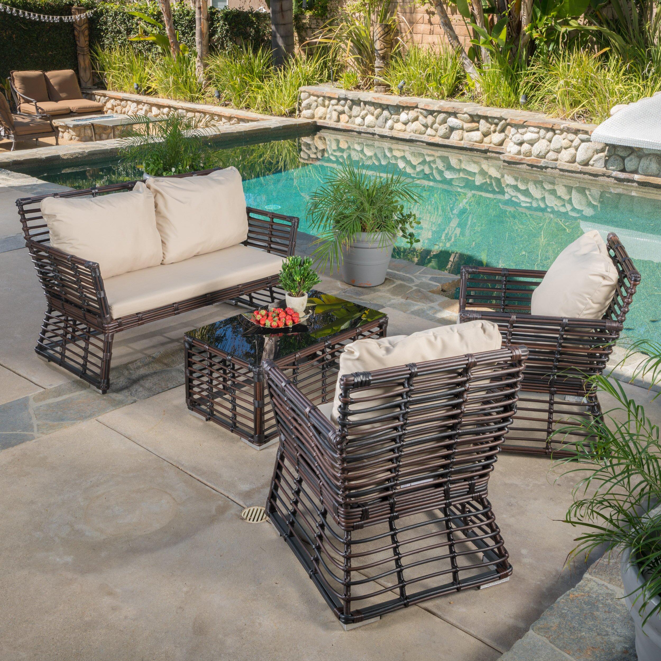 Brayden Studio Costas 4 Piece Bench Seating Group With Cushion Reviews Wayfair