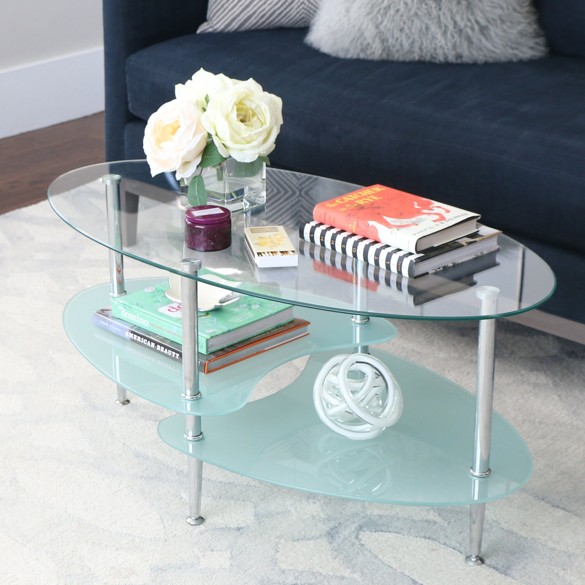 Wade Logan Jean Glass Oval Coffee Table & Reviews