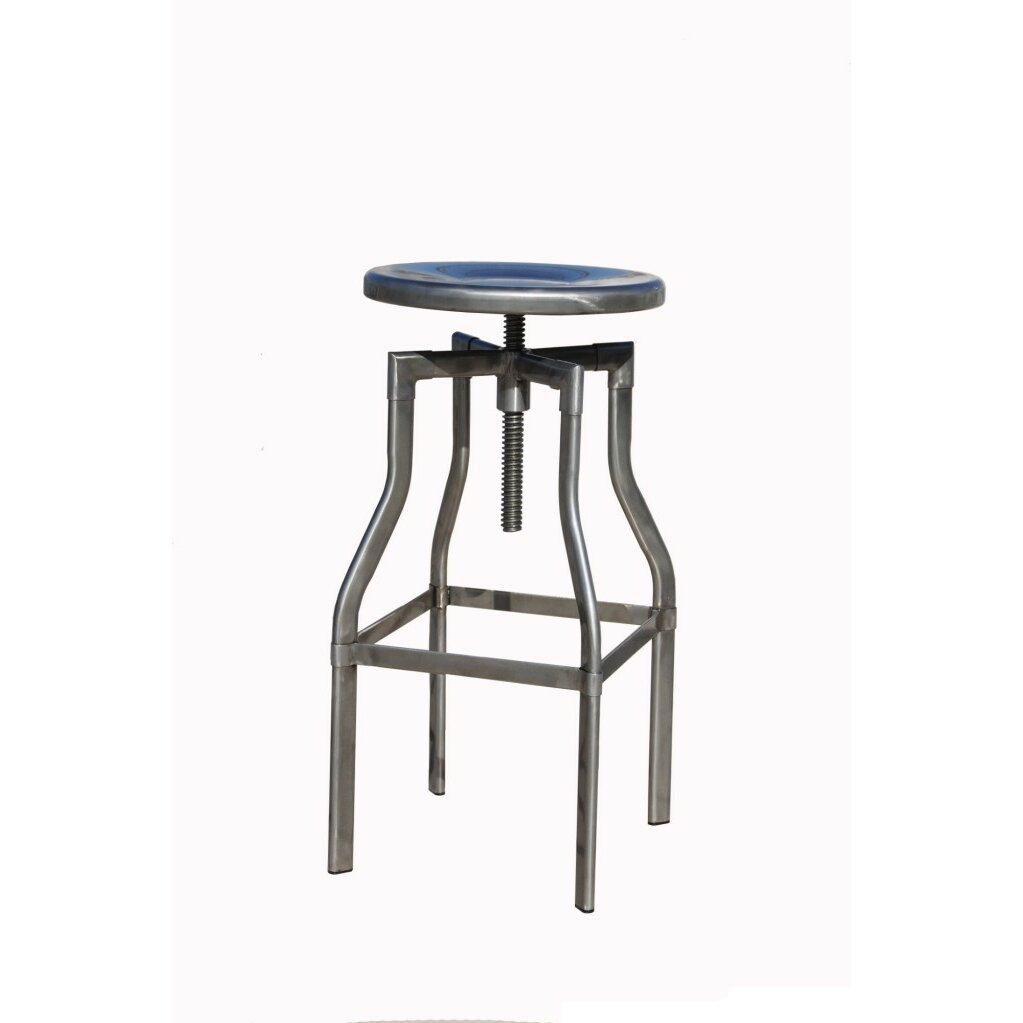 Industrial Adjustable Height Swivel Bar Stool by !nspire