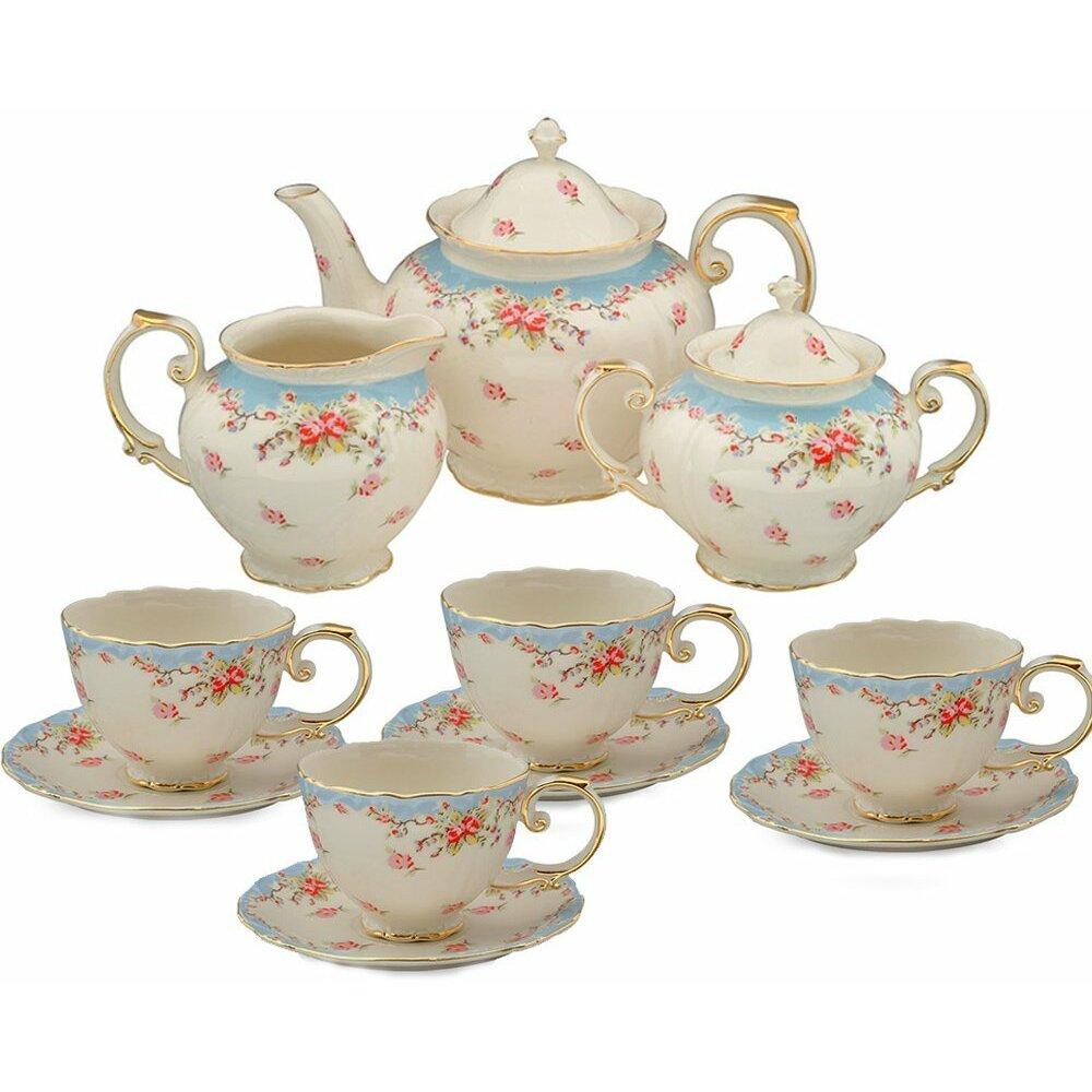 Coastline Imports 11 Piece Vintage Blue Rose Porcelain Tea