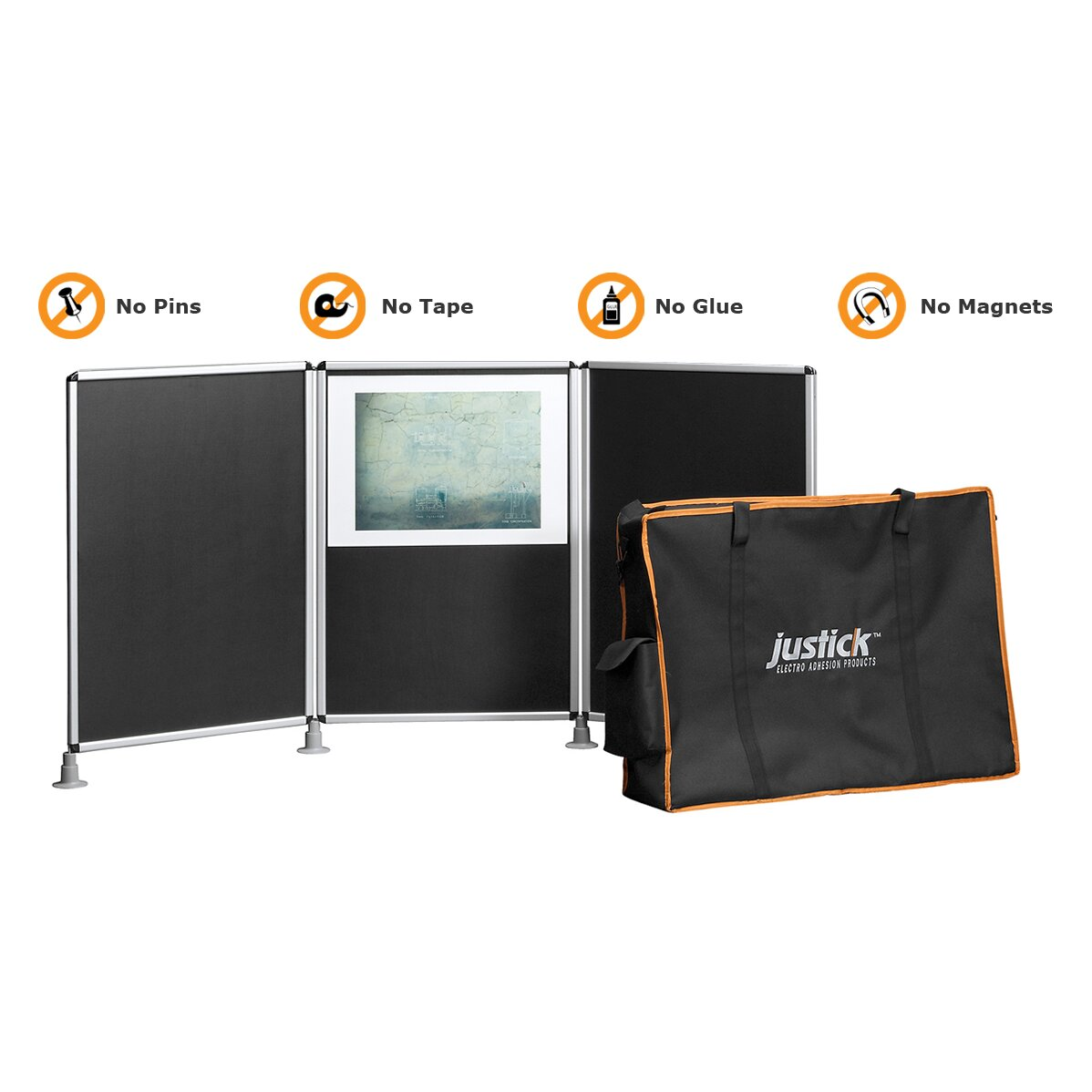 Justick Electro Adhesion 3 Panel Table Top Expo Display Bulletin Board