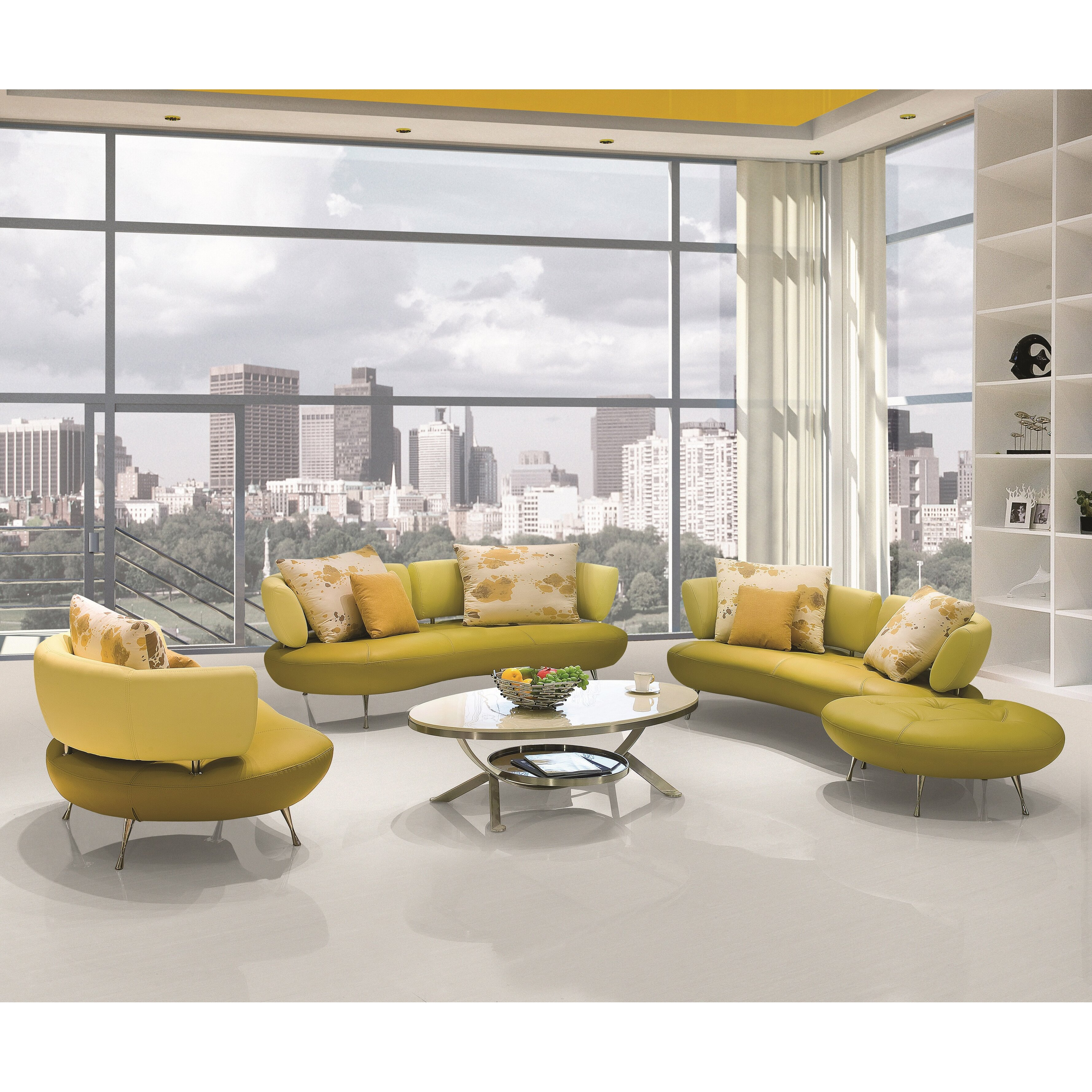 Container 4 Piece Modern Top Grain Leather Sofa Set