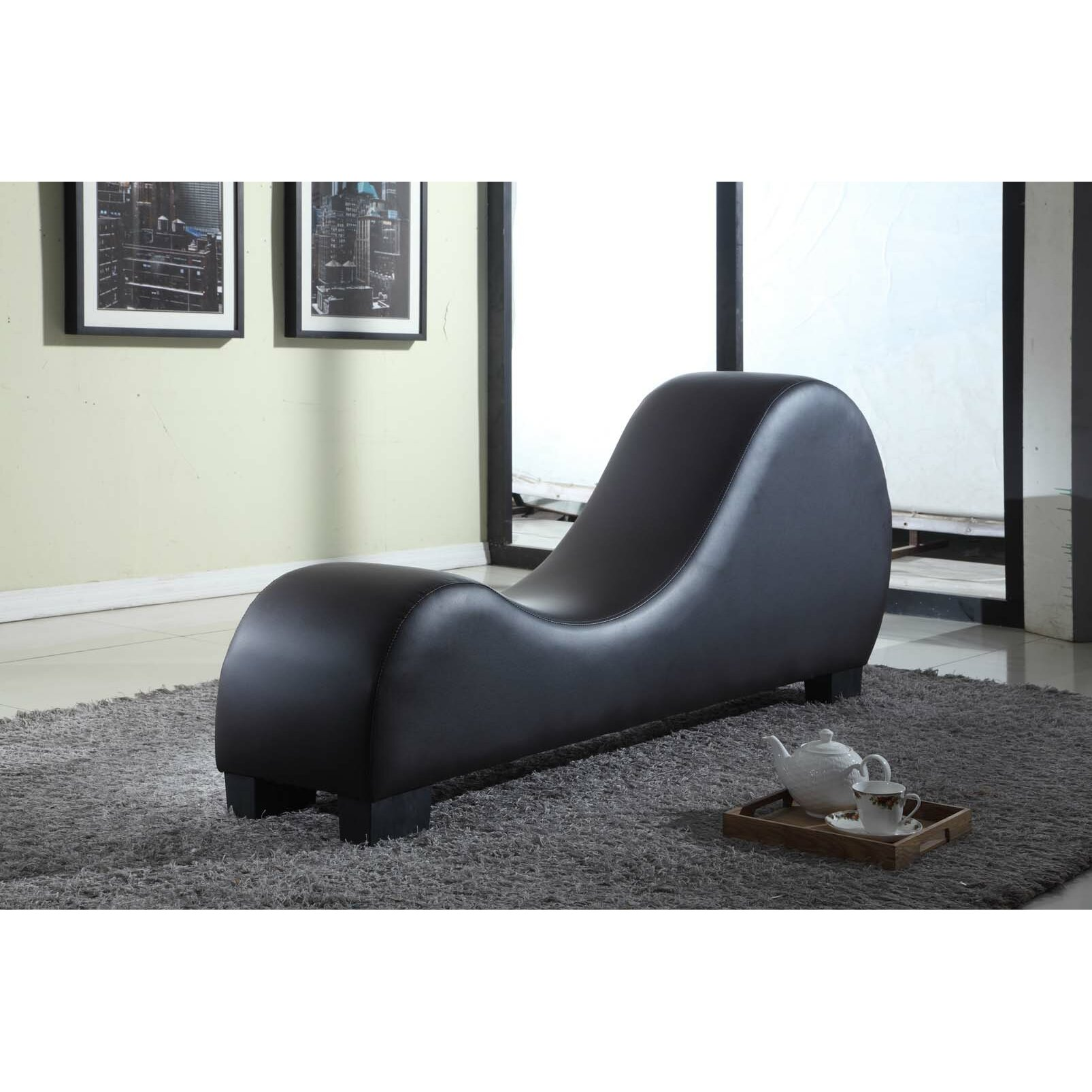 Container Faux Leather Stretch Chaise Yoga Chair & Reviews ...