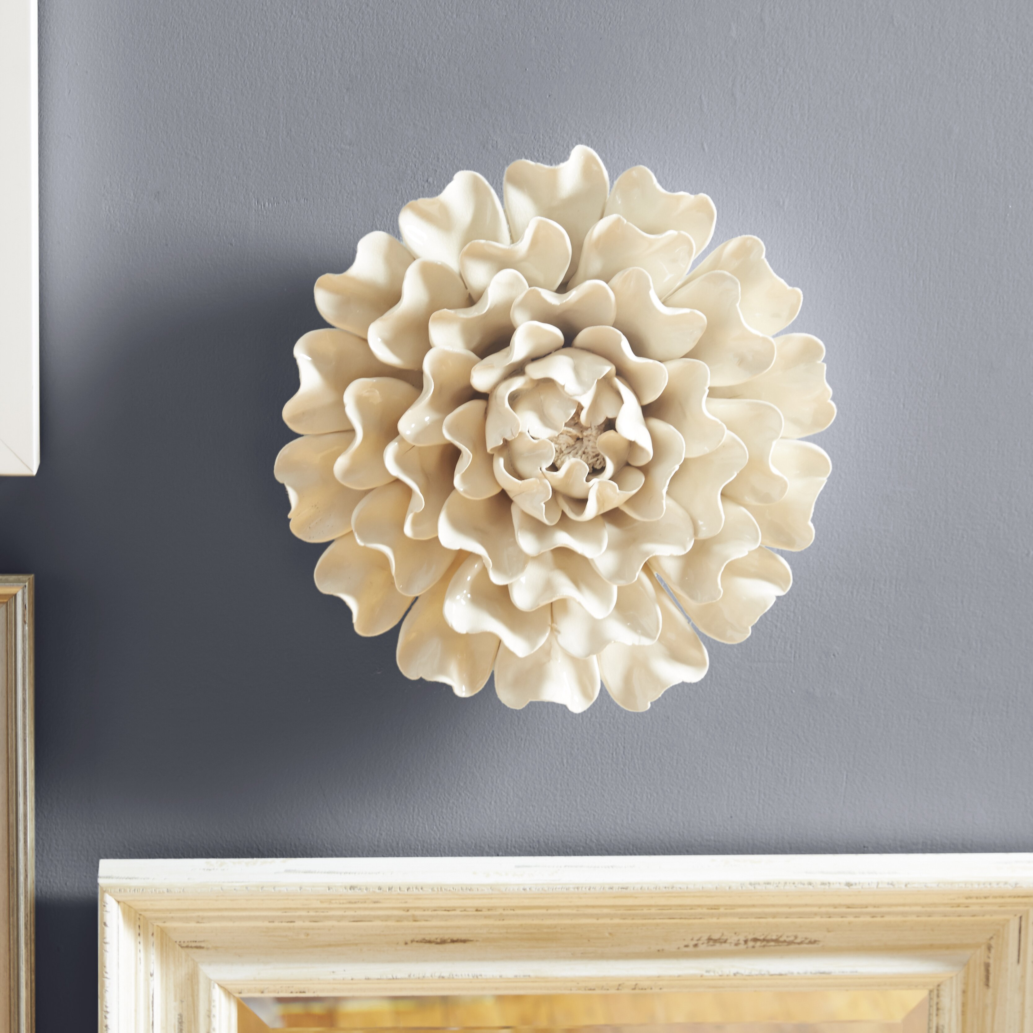 "Ceramic Wall Flower Decor: One Allium Way Large 13"" Flower Wall Décor & Reviews"