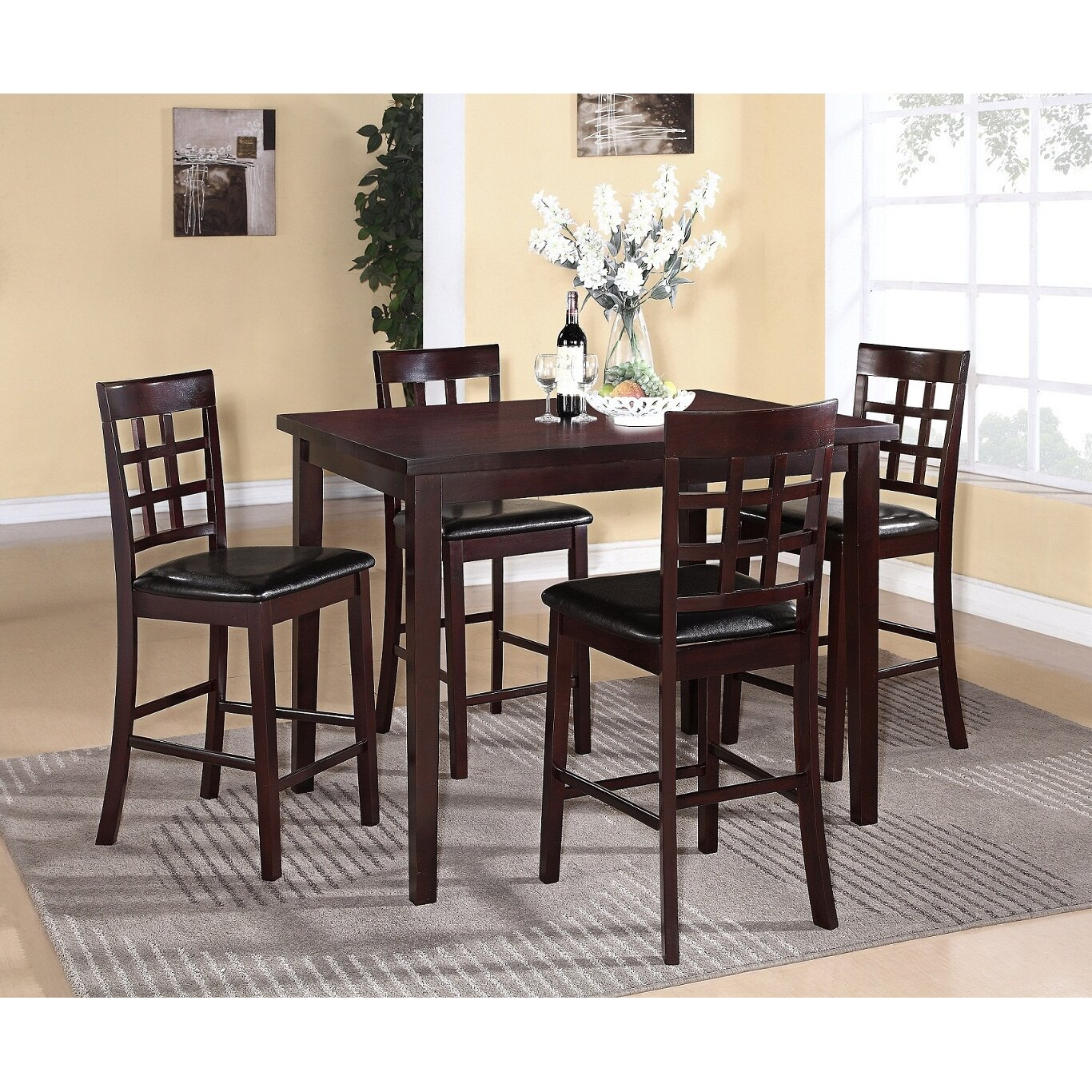 poka 5 piece rectangle solid wood counter height dining set