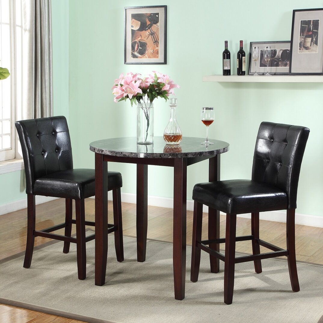Newcastle Counter Height Dining Table 2 Chairs 2 Stools: Roundhill Furniture Praia 3 Piece Counter Height Dining