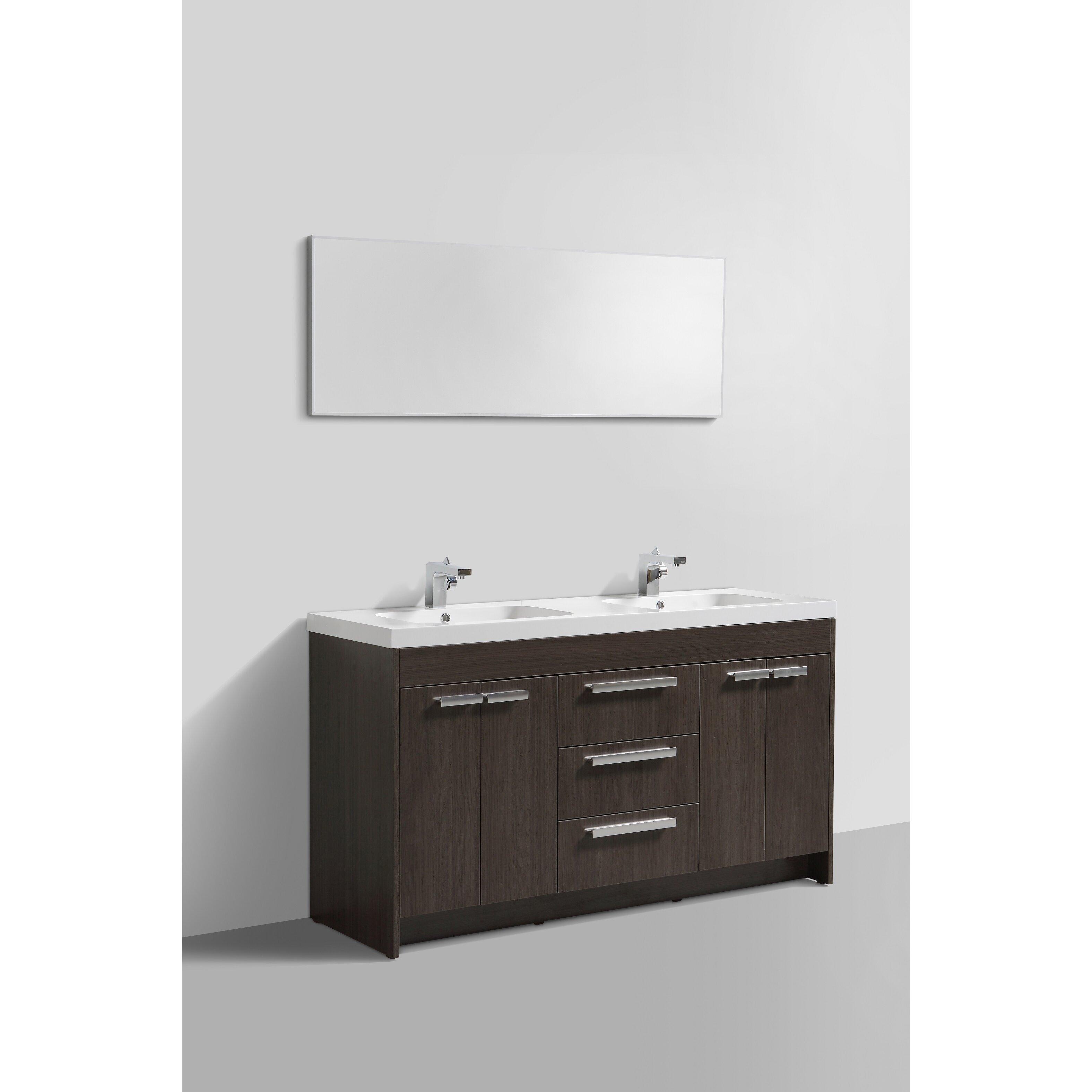 Lugano 60 Double Modern Bathroom Vanity Set Wayfair